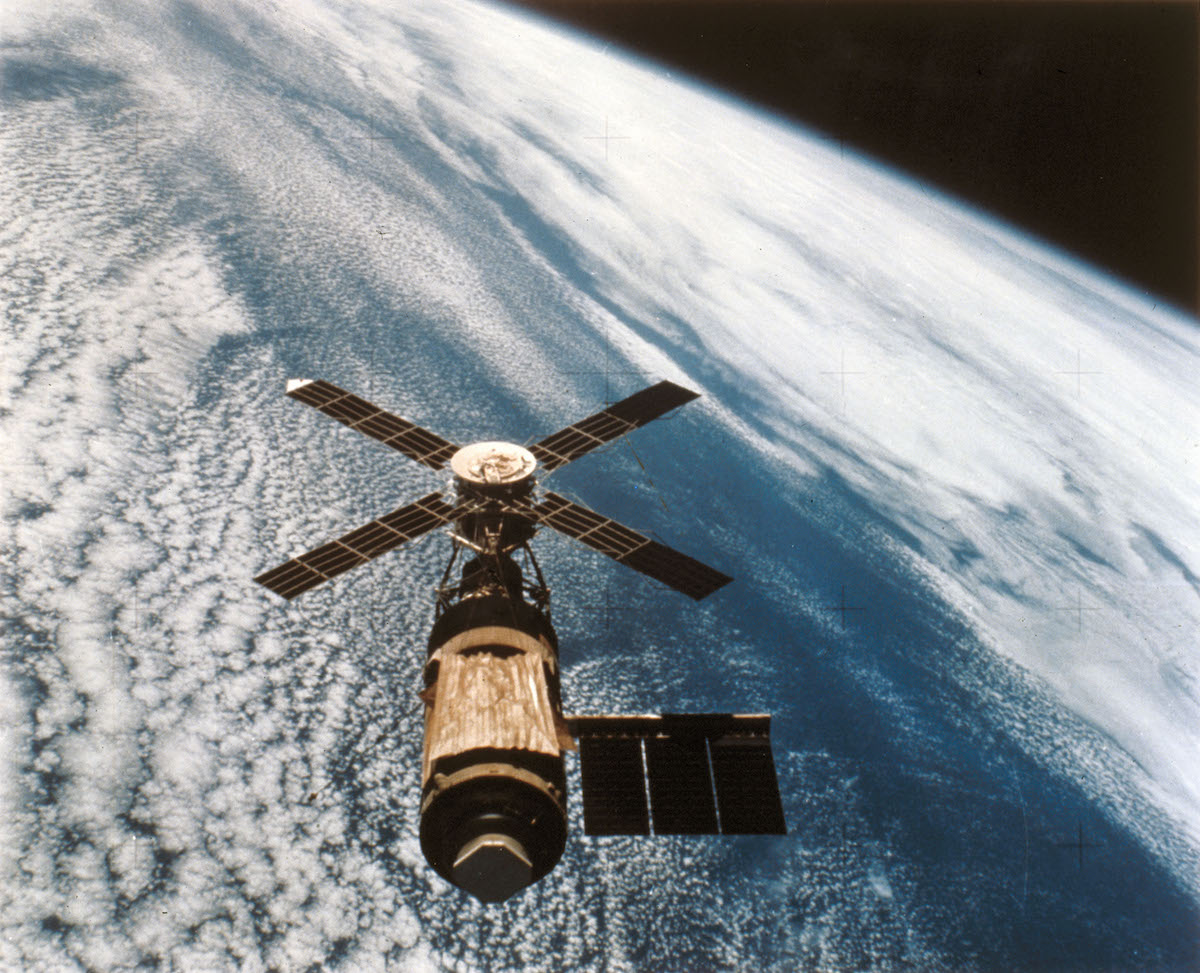 Skylab, clearly showing the sun shield, photographed by the crew of Skylab 4, in 1974.