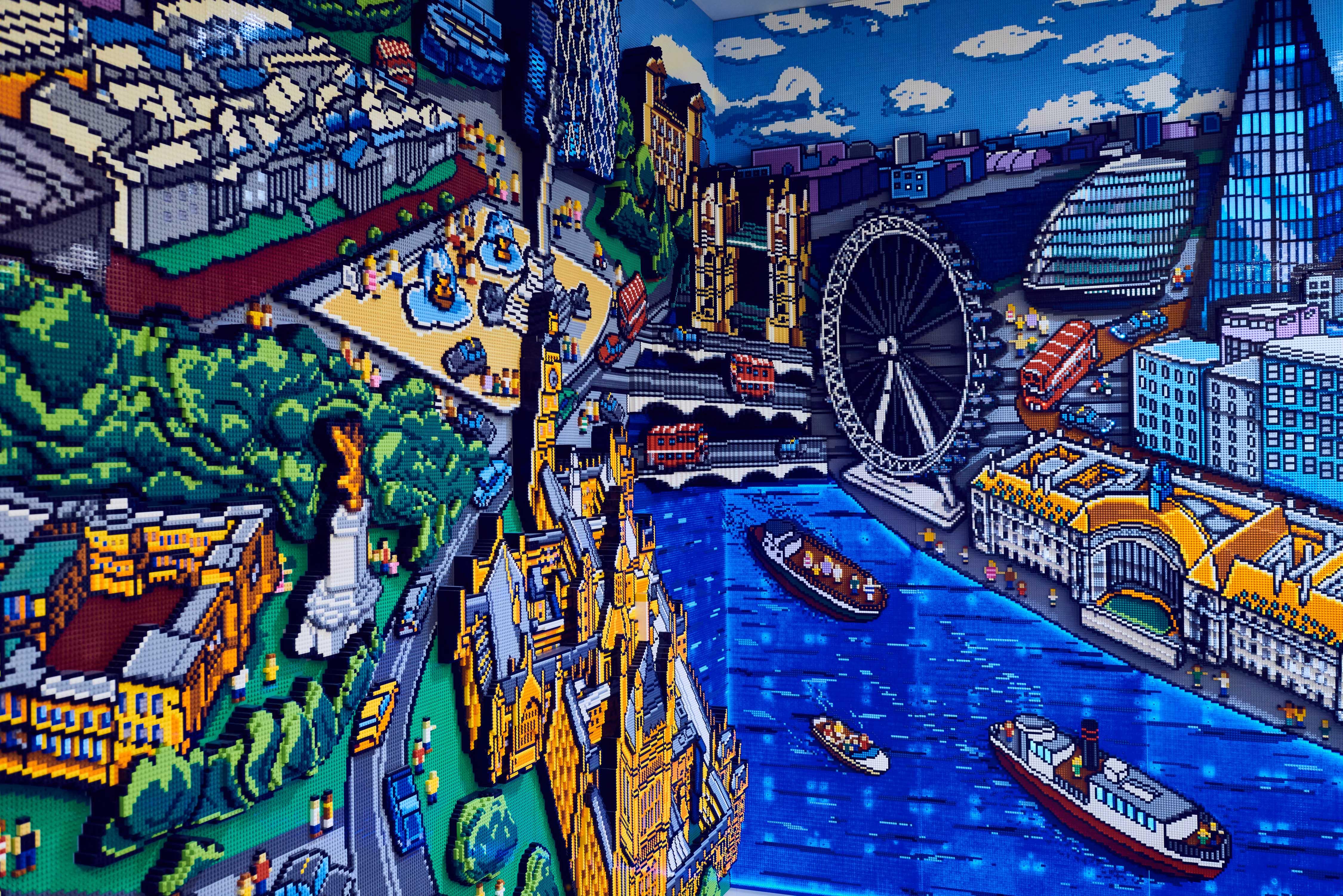 A Lego mosaic of London's skyline.