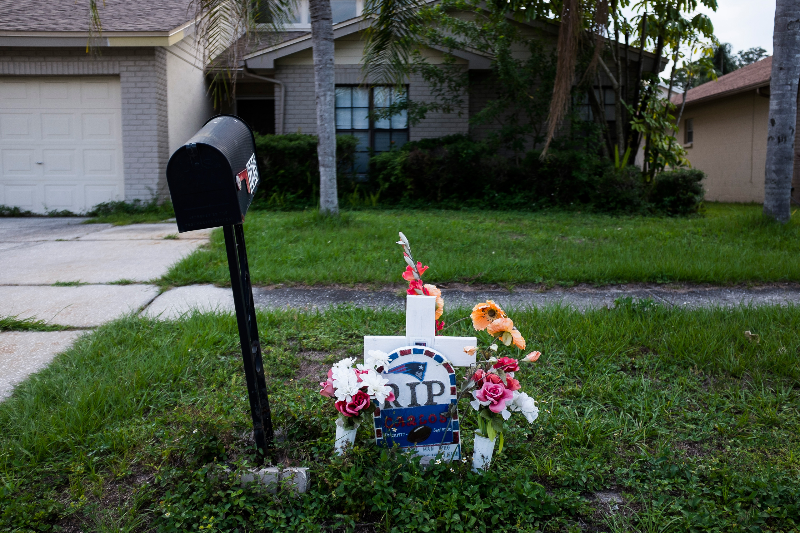 A memorial for Carlos Garcia, photographed outside his ex-wife Yaileen Ayala's home in Tampa on Sept. 15, 2016. Garcia was shot following an argument with a neighbor, who then called the 'Stand Your Ground' hotline.