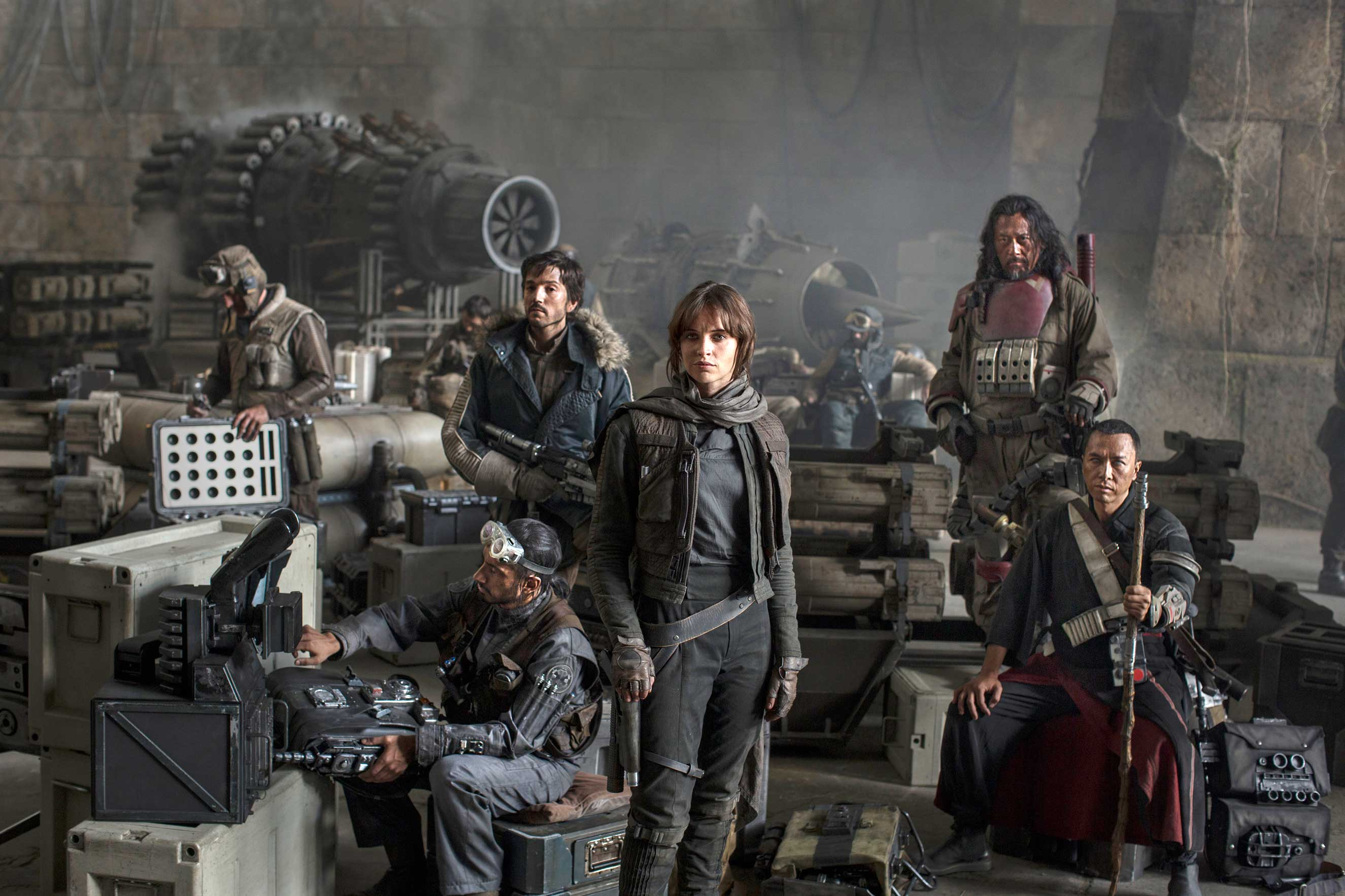 Star Wars: Rogue One..L to R: Actors Riz Ahmed, Diego Luna, Felicity Jones, Jiang Wen and Donnie Yen