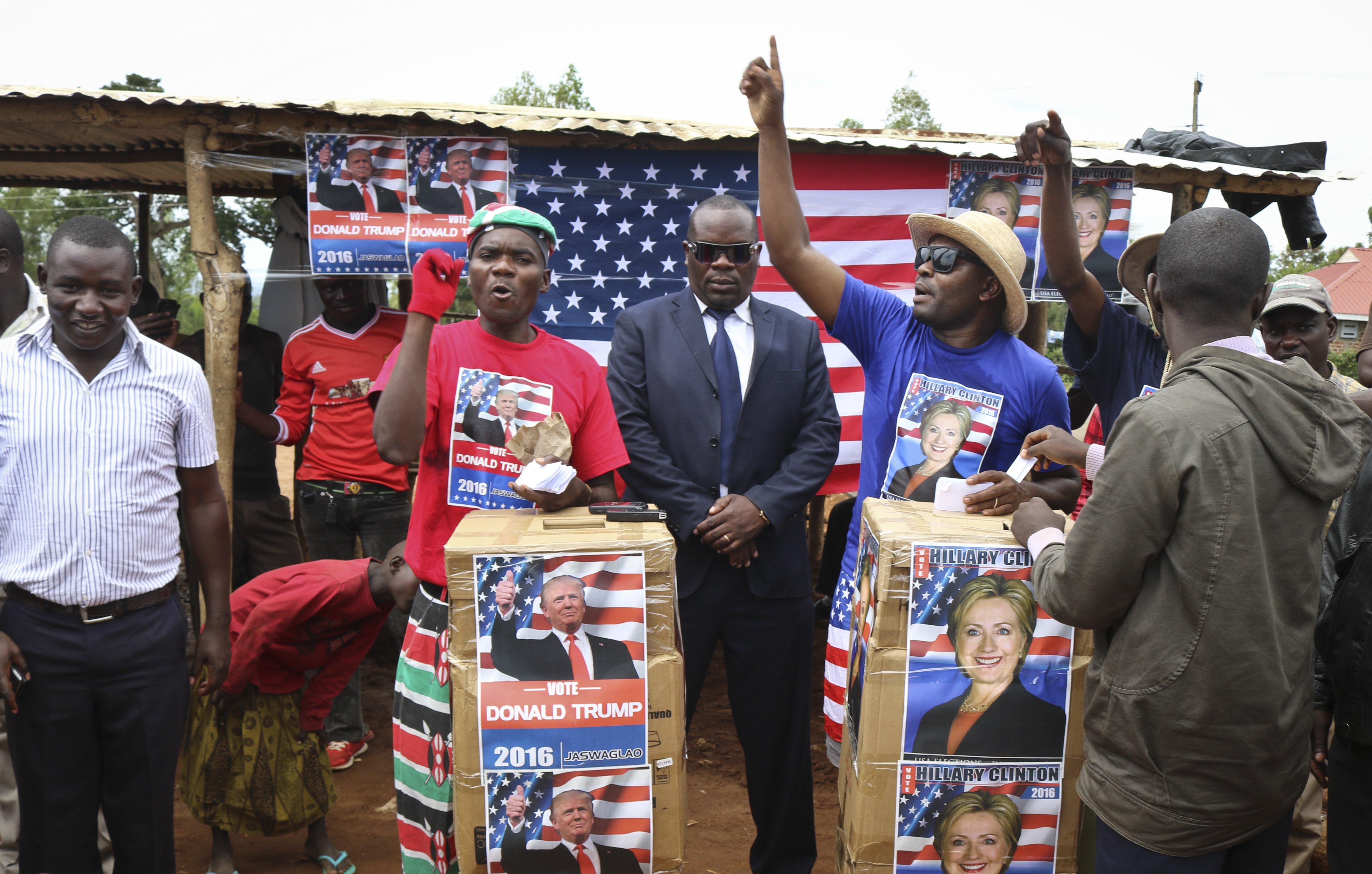 Comedians stage a mock election in the village of Kogelo, the home town of Sarah Obama, step-grandmother of President Barack Obama, in western Kenya,