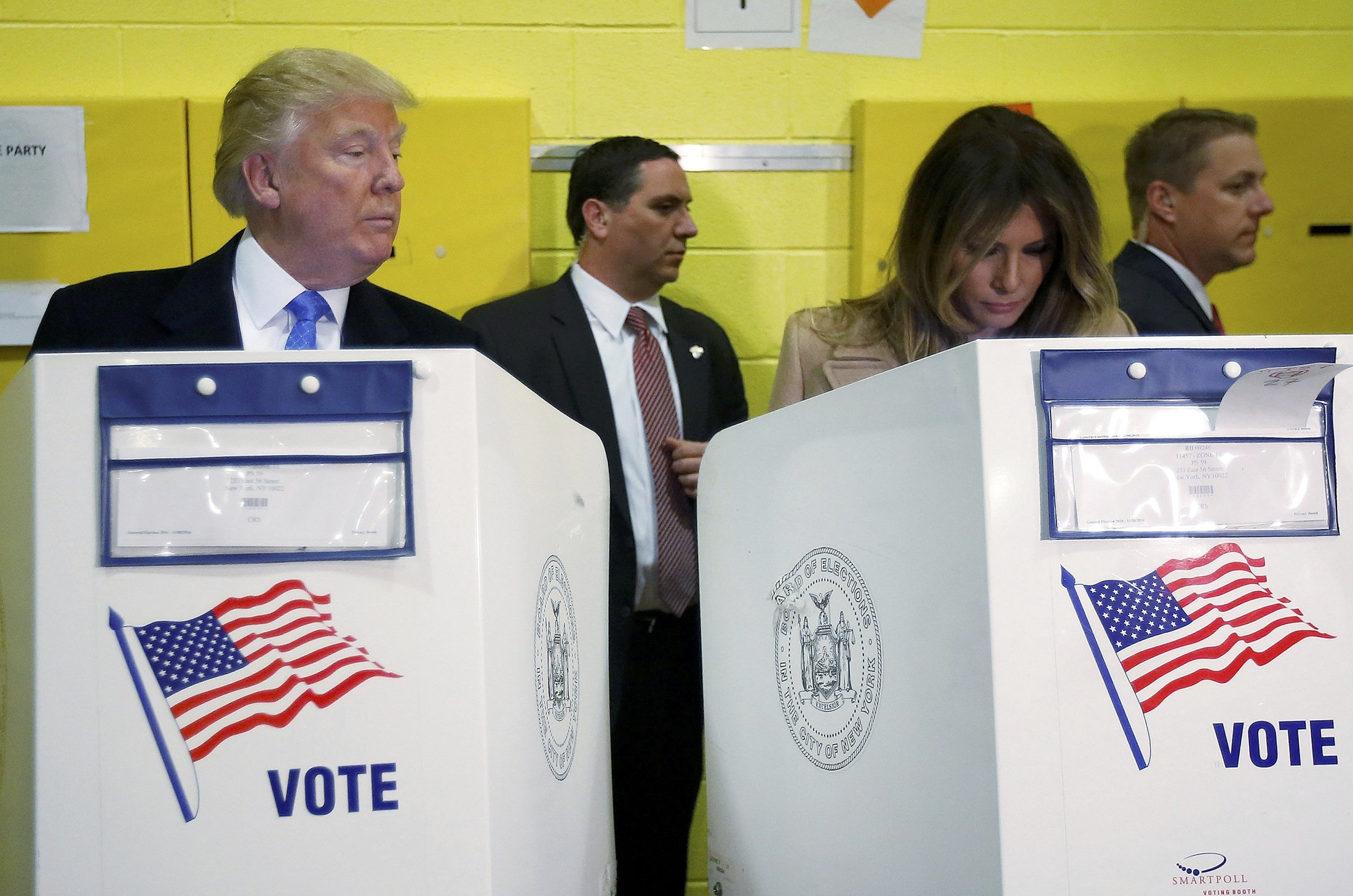 Donald Trump and his wife Melania vote at PS 59 school in New York City.