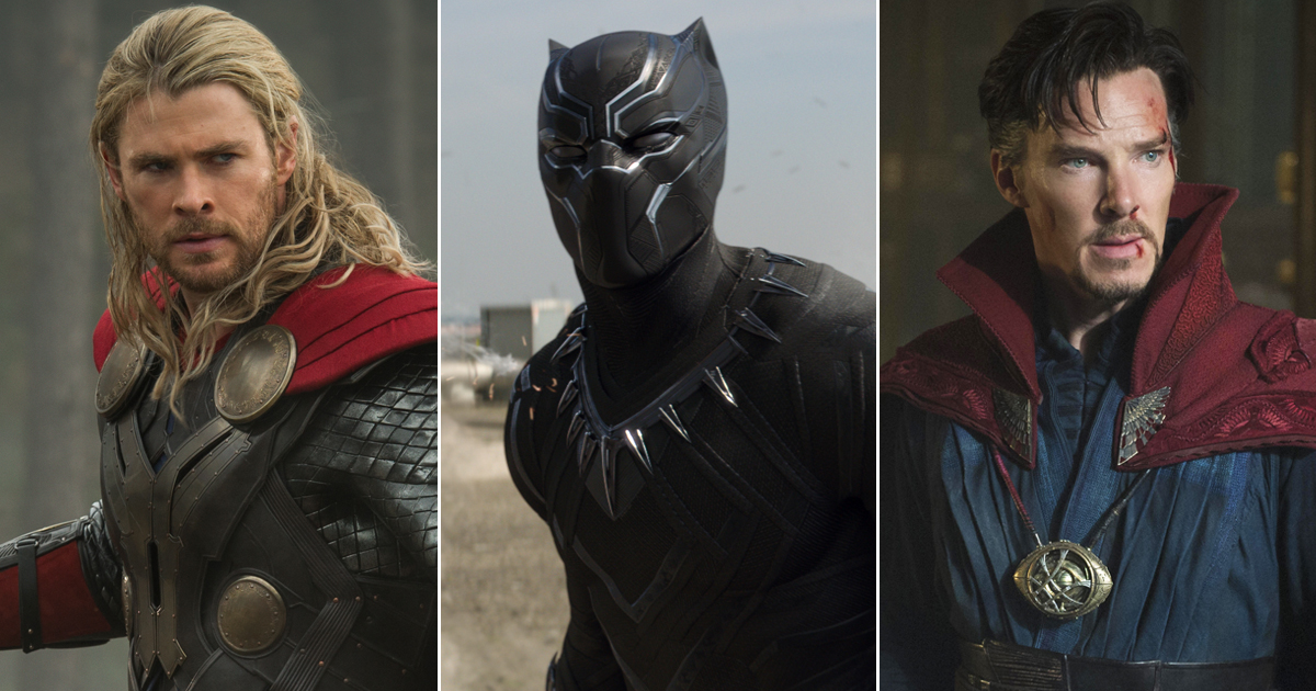 From left: Thor: The Dark World, Captain America: Civil War, and Doctor Strange.