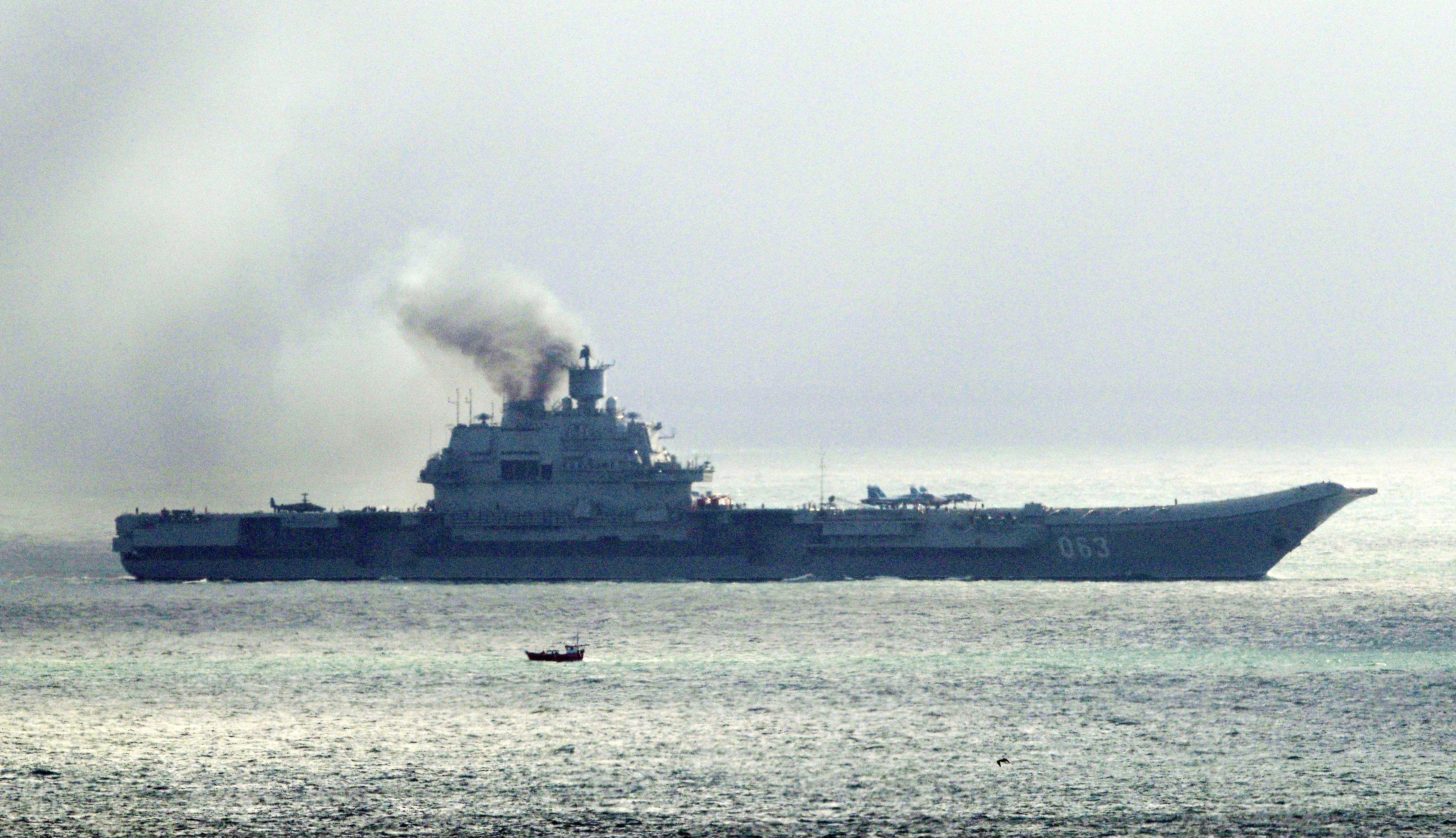 Russian aircraft carrier Admiral Kuznetsov, on Oct. 21, 2016.