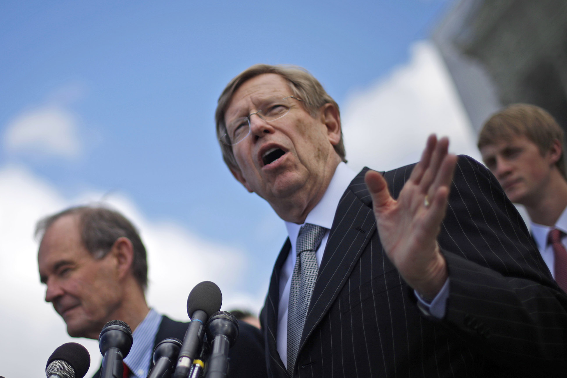 Plaintiff attorneys Theodore Olson, right, and David Boies, meet with the media outside the Supreme Court in Washington, on March 26, 2013, after the court heard arguments on California's voter approved ban on same-sex marriage, Proposition 8.