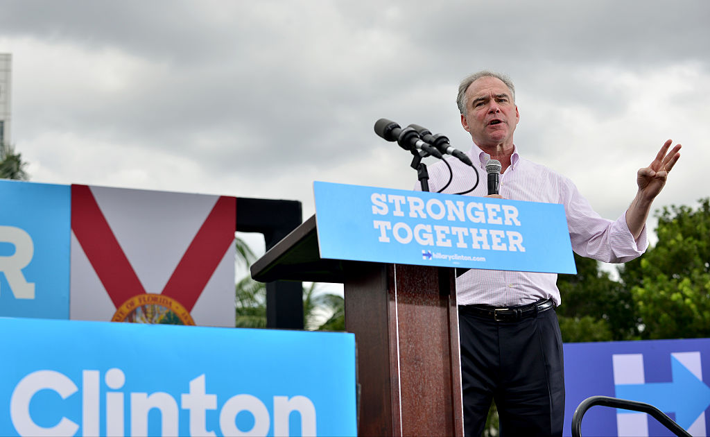 Democratic vice presidential nominee U.S. Sen. Tim Kaine (D-VA) speaks during a campaign rally at Florida International University on Oct. 24, 2016 in Miami, Florida.