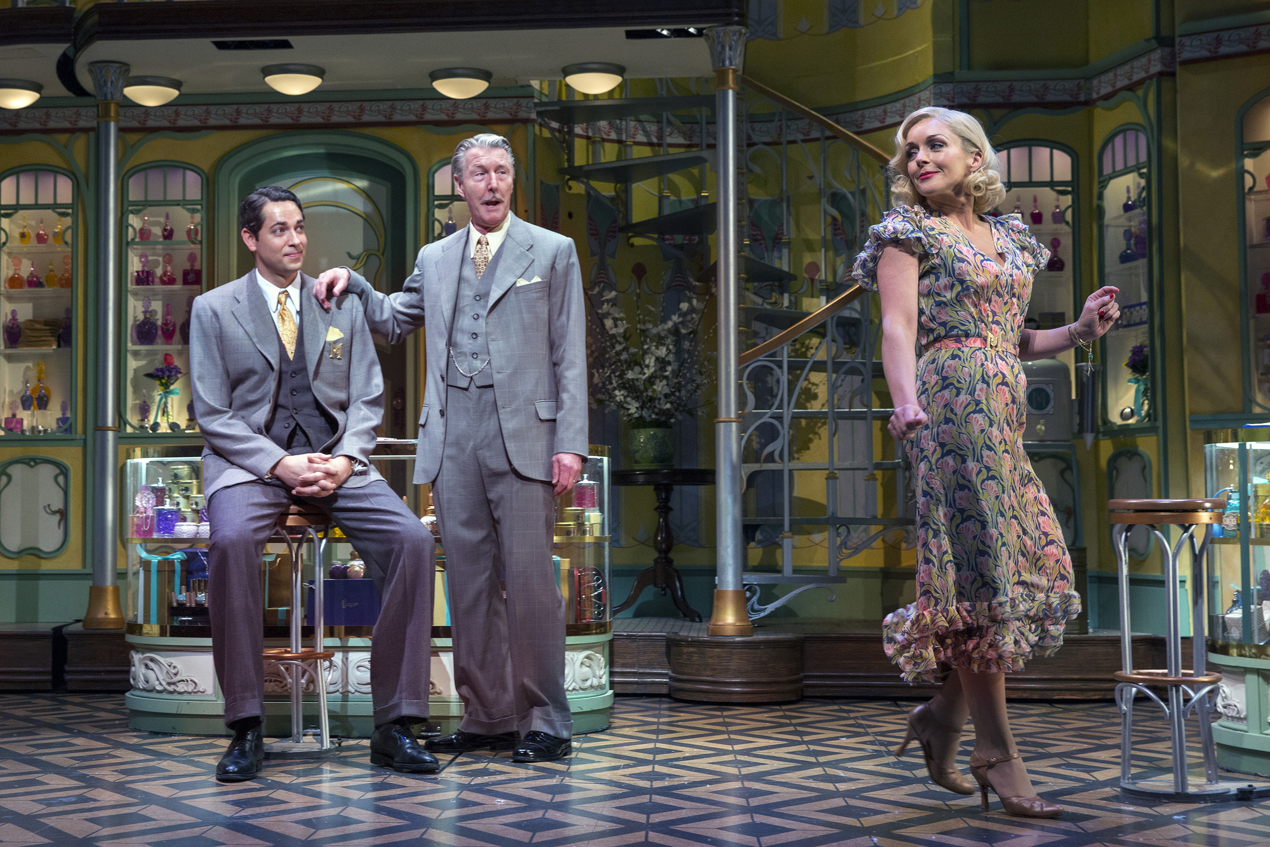 PHOTO MOVED IN ADVANCE AND NOT FOR USE - ONLINE OR IN PRINT - BEFORE MARCH 6, 2016. -- From left: Zachary Levi, Byron Jennings and Jane Krakowski in  She Loves Me  in New York, Feb. 19, 2016. The musical tells the story of two feuding perfume-shop employees who find epistolary romance as unknowing pen pals. (Sara Krulwich/The New York Times)