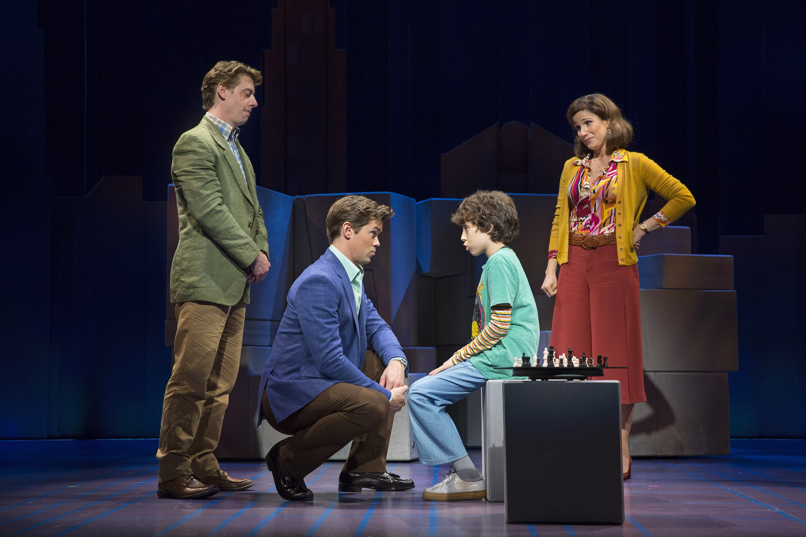 From left: Christian Borle, Andrew Rannells, Anthony Rosenthal and Stephanie J. Block in the new production of  Falsettos  in New York, Oct. 6, 2016. Times have changed for gay rights, leading the makers of ?Falsettos  to wonder how the show will be received compared with its Broadway debut in 1992. (Sara Krulwich/The New York Times)