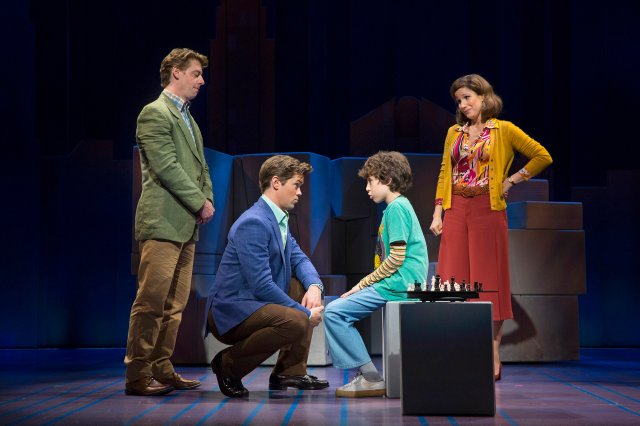 "From left: Christian Borle, Andrew Rannells, Anthony Rosenthal and Stephanie J. Block in the new production of ""Falsettos"" in New York, Oct. 6, 2016. Times have changed for gay rights, leading the makers of ?Falsettos"" to wonder how the show will be received compared with its Broadway debut in 1992. (Sara Krulwich/The New York Times)"