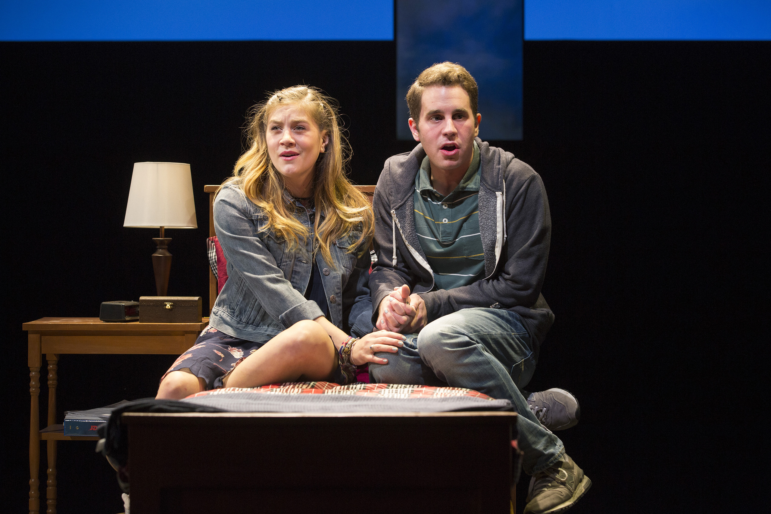 -- PHOTO MOVED IN ADVANCE AND NOT FOR USE - ONLINE OR IN PRINT - BEFORE NOV. 13, 2016. -- FILE -- Laura Dreyfuss, left, and Ben Platt in the musical  Dear Evan Hansen  at the Second Stage Theater in New York, March 25, 2016. Benj Pasek, along with songwriting partner Justin Paul, have been churning out hit songs since college, and will soon see their musical  Dear Evan Hansen  head to Broadway and their lyrics hit the screen in the movie  La La Land.  (Sara Krulwich/The New York Times)