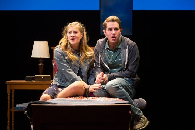 "-- PHOTO MOVED IN ADVANCE AND NOT FOR USE - ONLINE OR IN PRINT - BEFORE NOV. 13, 2016. -- FILE -- Laura Dreyfuss, left, and Ben Platt in the musical ""Dear Evan Hansen"" at the Second Stage Theater in New York, March 25, 2016. Benj Pasek, along with songwriting partner Justin Paul, have been churning out hit songs since college, and will soon see their musical ""Dear Evan Hansen"" head to Broadway and their lyrics hit the screen in the movie ""La La Land."" (Sara Krulwich/The New York Times)"