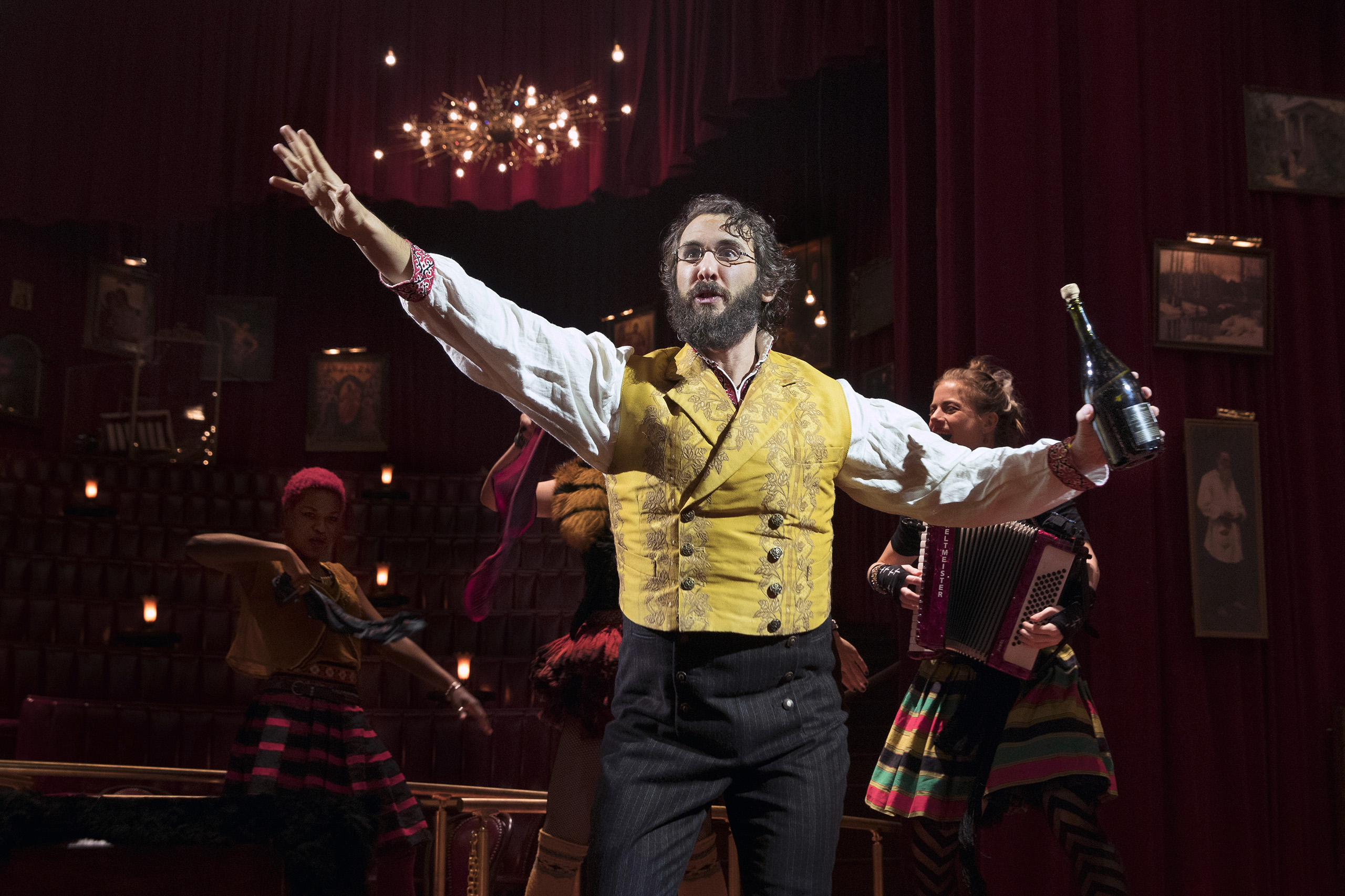 Josh Groban in the musical  Natasha, Pierre and The Great Comet of 1812  at the Imperial Theater in New York, Nov. 4, 2016. Dave Malloy's pop opera, adapted from a slice of Tolstoy's  War and Peace,  was born four years ago in the shoe box of Ars Nova, one of the most adventurous Off Broadway companies, before moving into a specially built cabaret-style space in the meatpacking district. (Sara Krulwich/The New York Times)