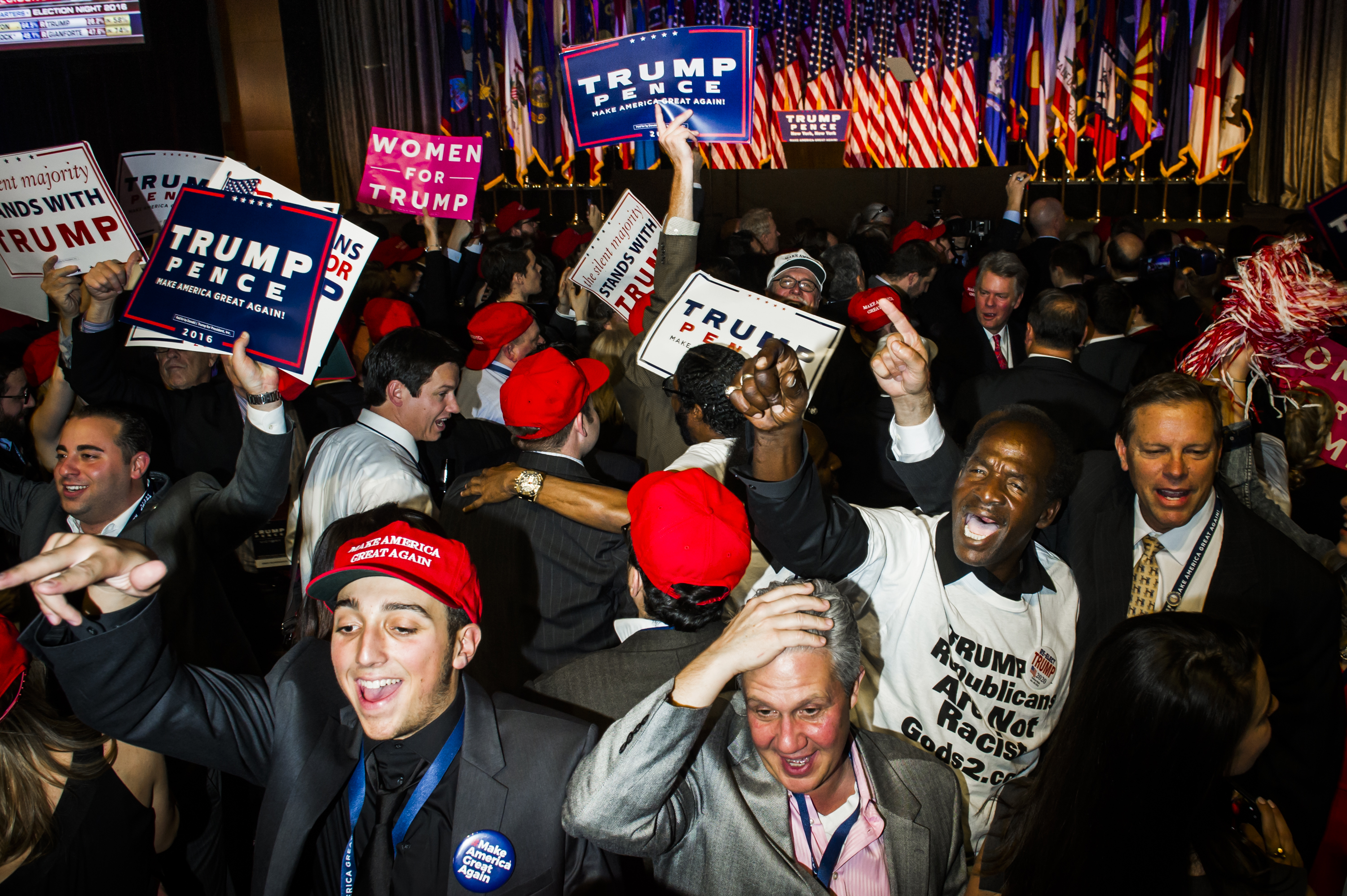 Supporters cheer for President-elect Donald Trump's Victory Party on Tuesday, Nov. 8, 2016 in New York's Manhattan borough.