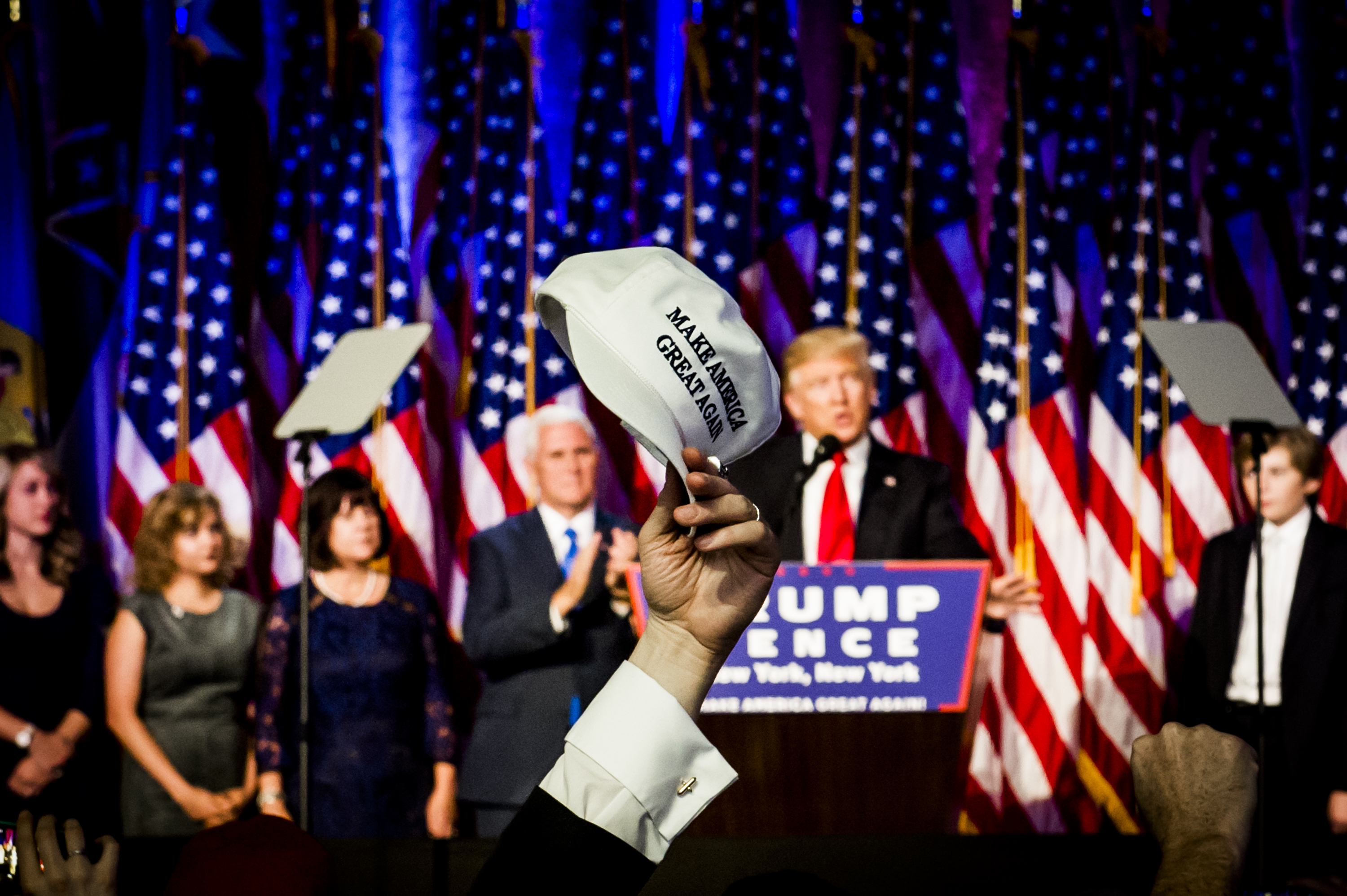 President-elect Donald Trump speaks during his Victory Party on Tuesday, Nov. 8, 2016 in New York's Manhattan borough.