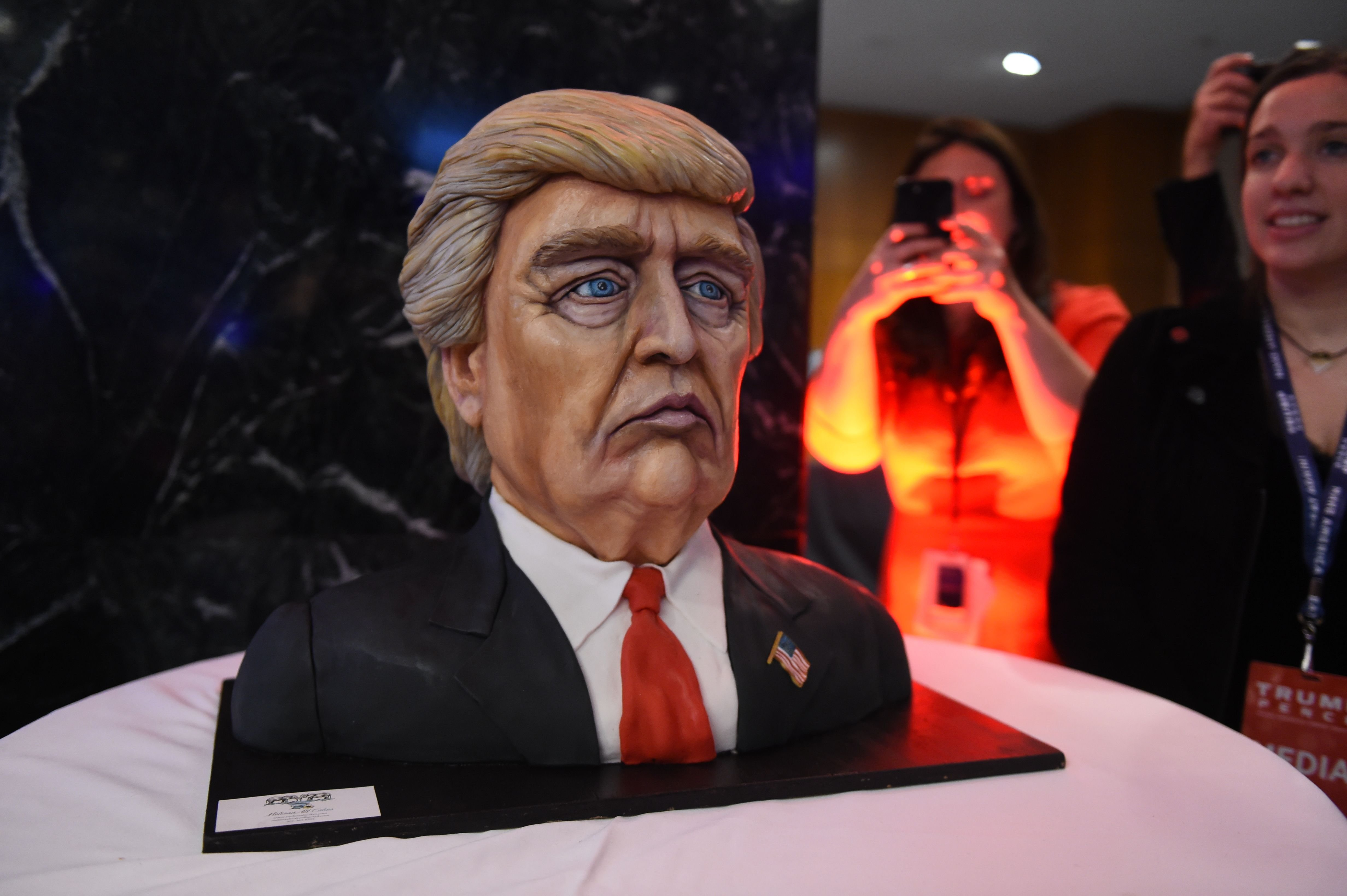 A cake in the likeness of  Donald Trump at Donald Trump's election night event at the New York Hilton Midtown in New York.