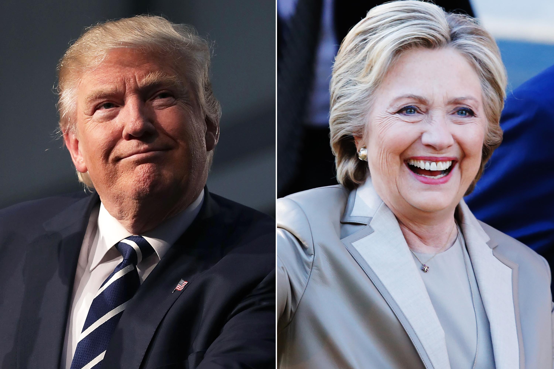 Donald Trump, on Nov. 8, 2016 in Grand Rapids, Mich. Hillary Clinton, on Nov. 08, 2016 in Chappaqua, N.Y.