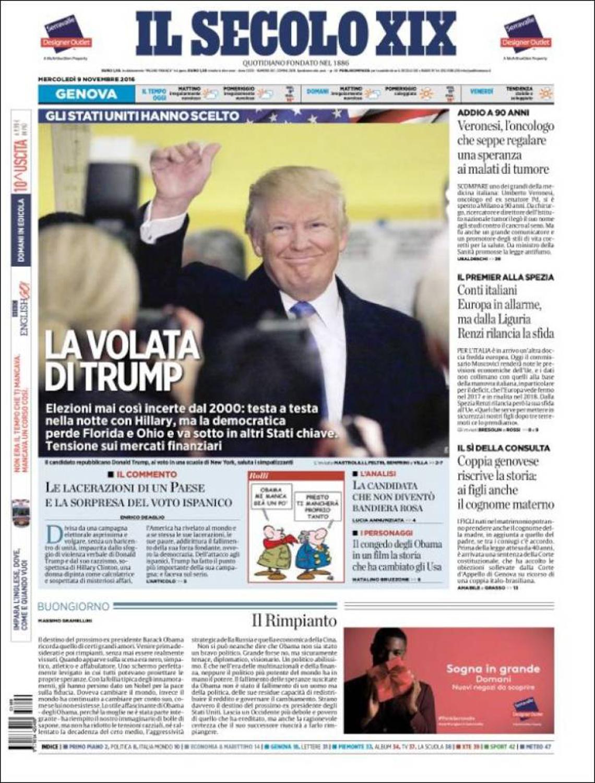 Trump's Sprint , Il Secolo XIX, Italy