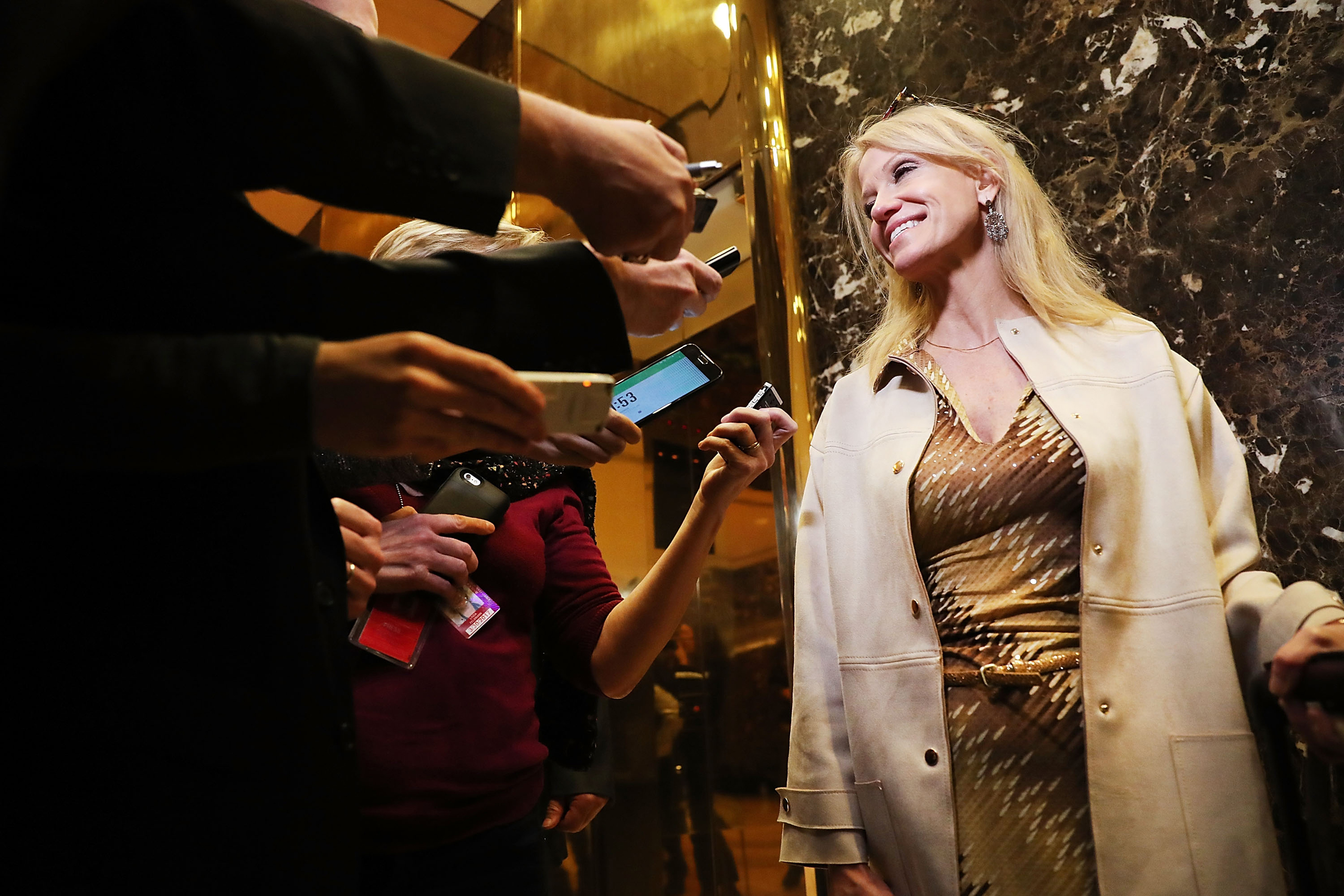 Donald Trump's campaign manager Kellyanne Conway speaks to the media while entering Trump Tower on Nov. 14, 2016.