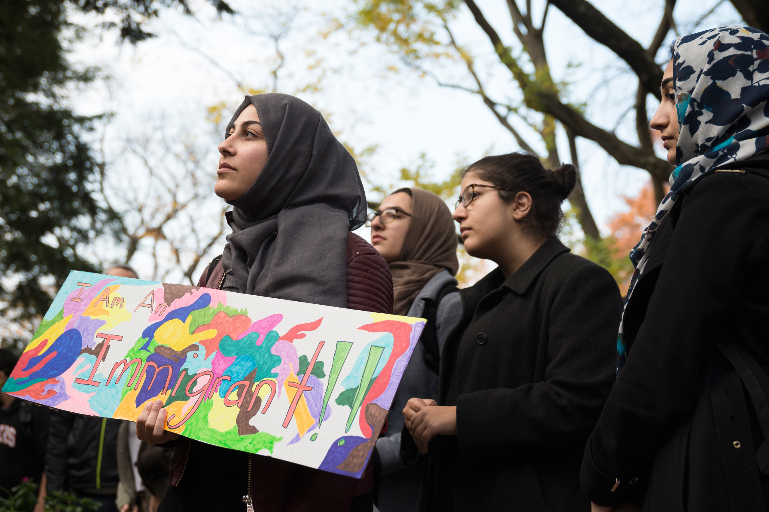 As part of a nationwide series of university student walkouts in protest of Republican President-elect Donald J. Trump's proposed policy initiatives regarding immigration and the deportation of criminal undocumented immigrants, nearly a thousand students and faculty members at Rutgers University staged a rally and march in downtown New Brunswick, N.J., on Nov.16, 2016.