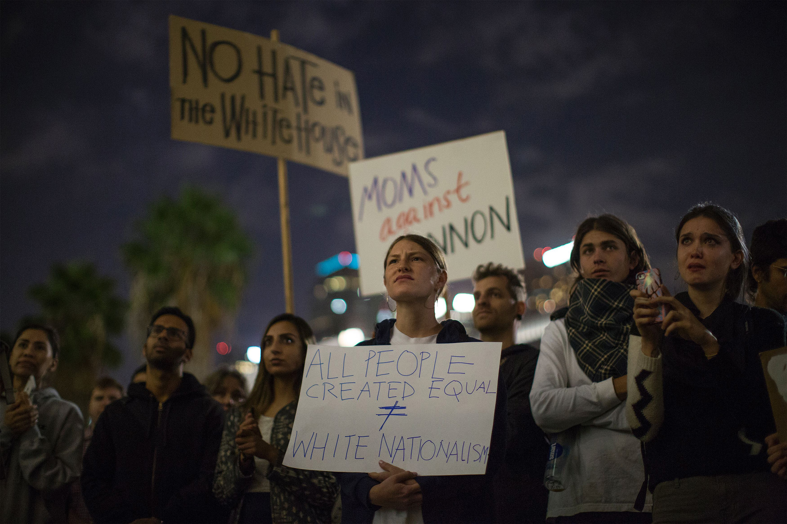 People protest the appointment of  Steve Bannon, to be chief strategist of the White House by Donald Trump on Nov. 16, near City Hall in Los Angeles.