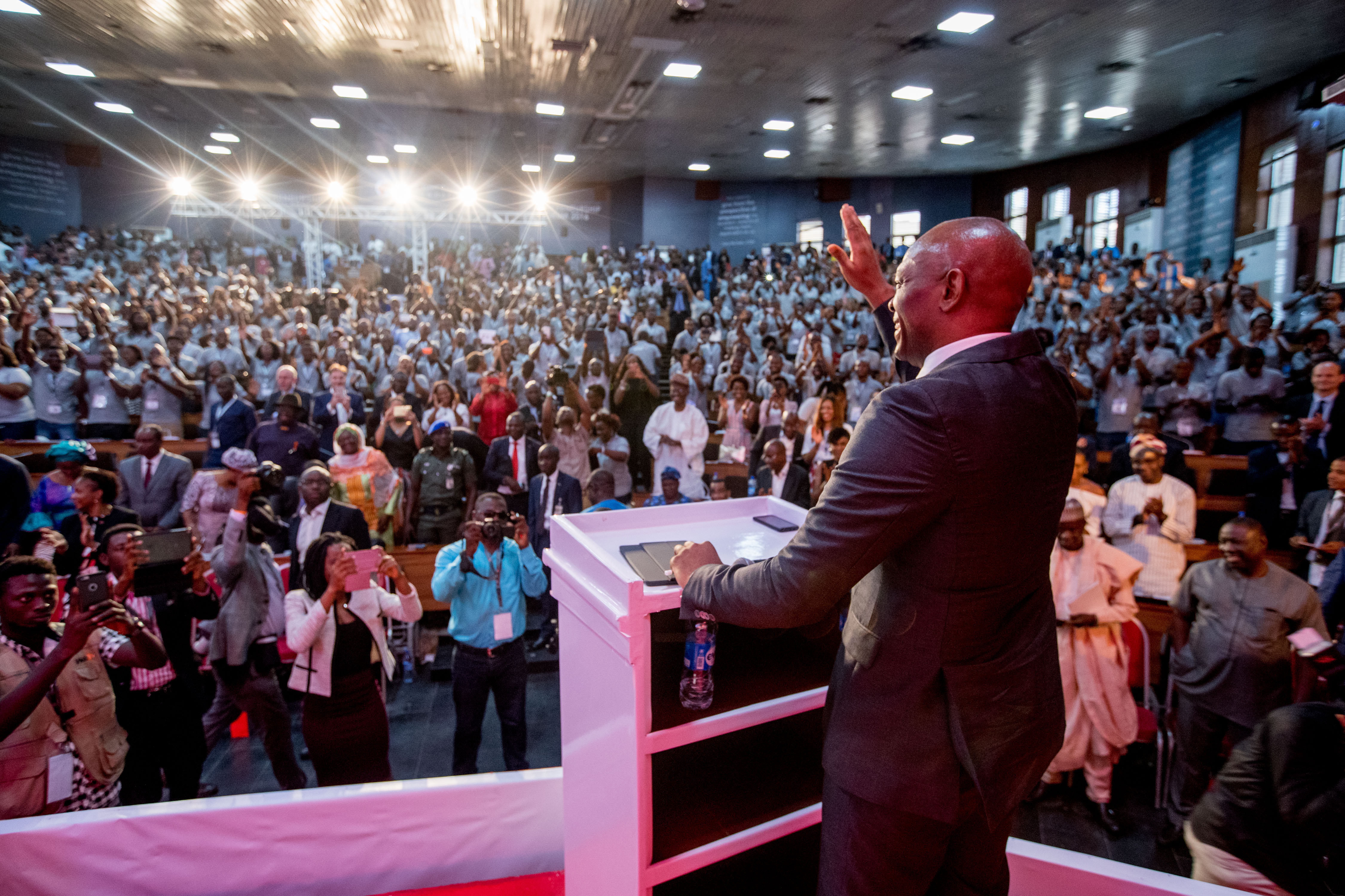 Tony O. Elumelu addressing the Tony Elumelu Entrepreneurs at the Tony Elumelu Foundation Entrepreneurship Forum 2016, which held in Lagos, Nigeria in October.