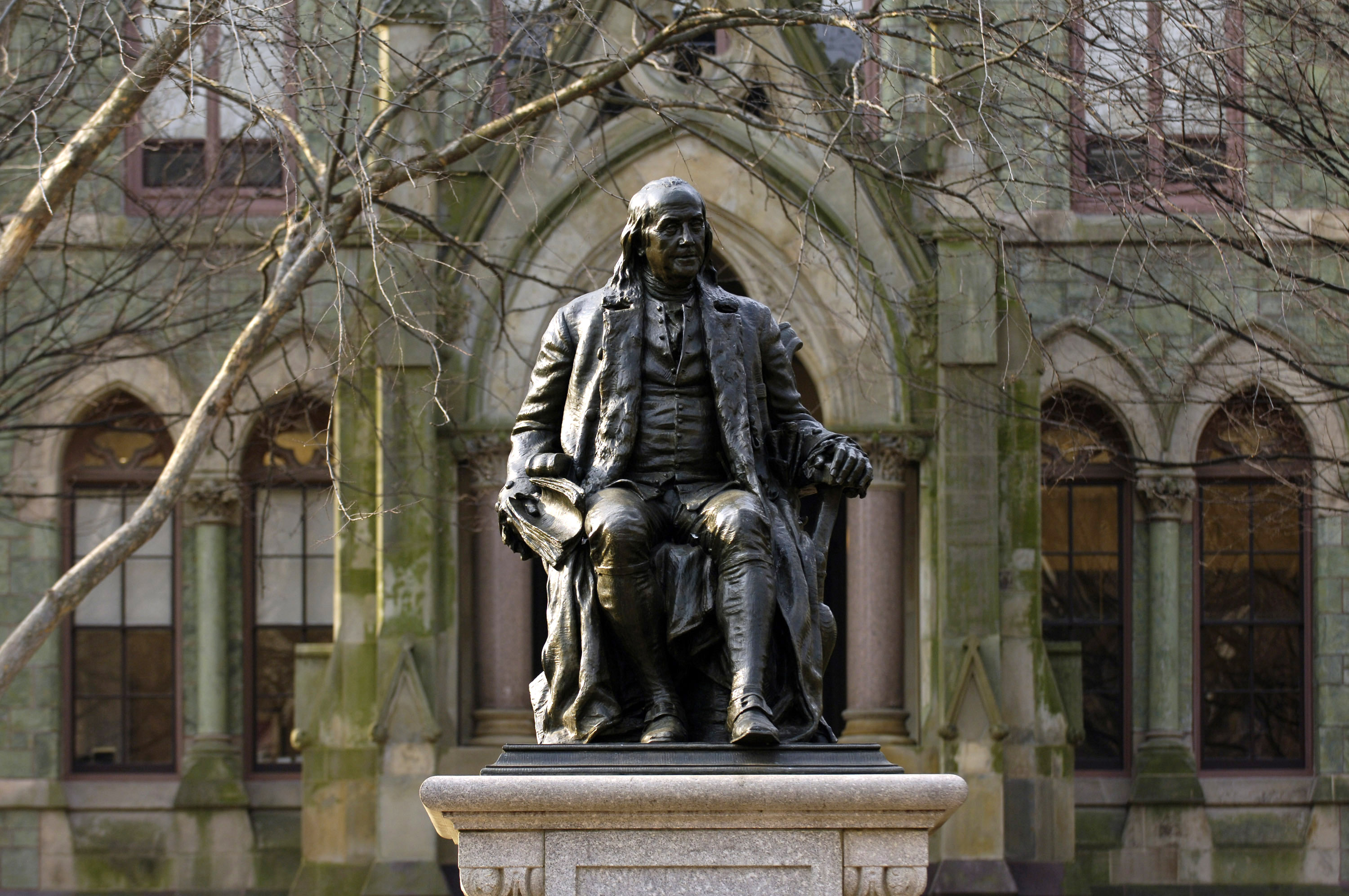 A statue of Benjamin Franklin, founder of the University of Pennsylvania, on the school's campus in Philadelphia, Pennsylvania, on March 15, 2007.
