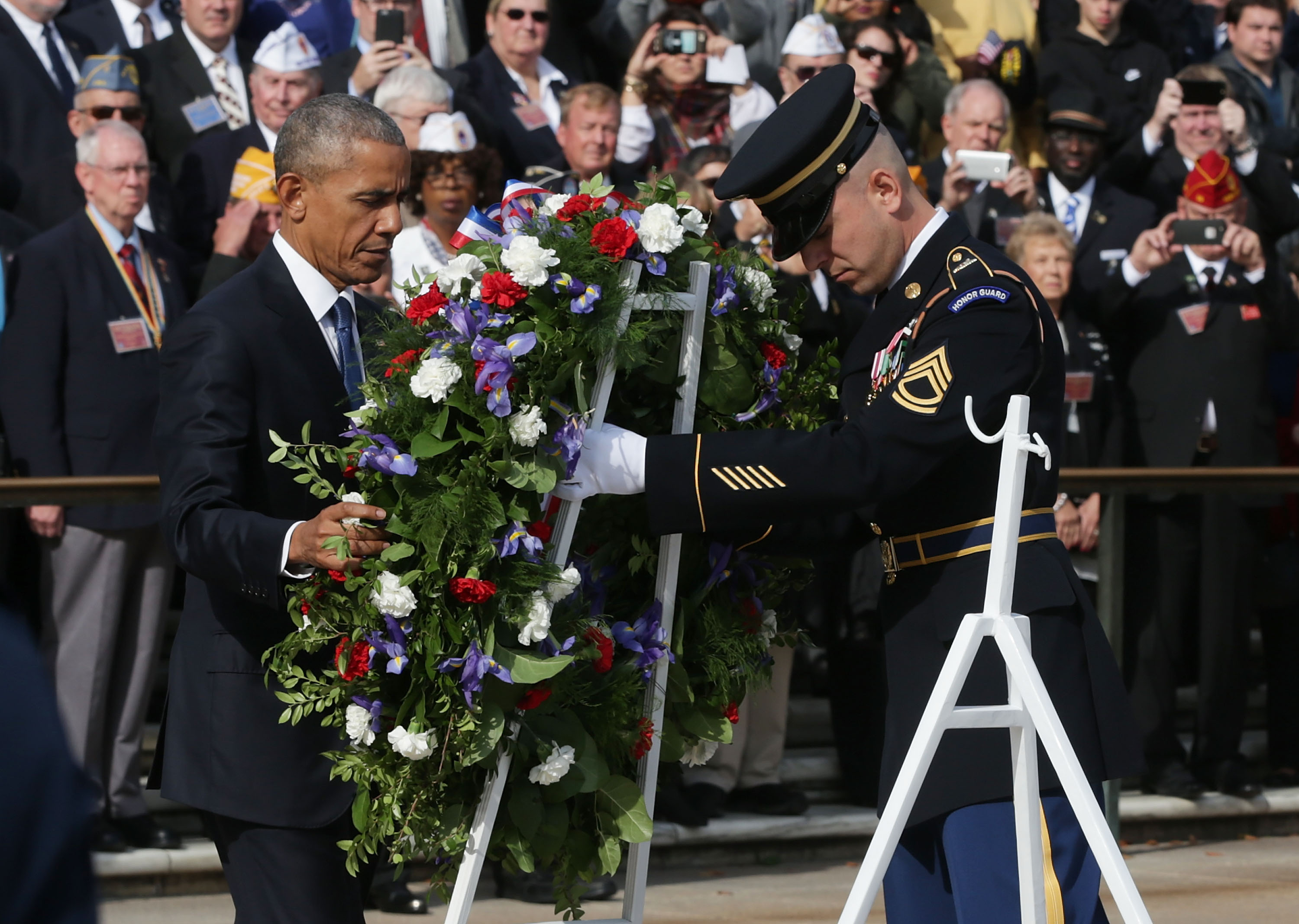 U.S. President Barack Obama participates in a wreath-laying ceremony at the Tomb of the Unknown Soldier at Arlington National Cemetery on Veterans Day November 11, 2016 in Arlington, Virginia. The annual Veterans Day National Ceremony was held at the cemetery to honor Americans who had served in the U.S. Armed Forces.