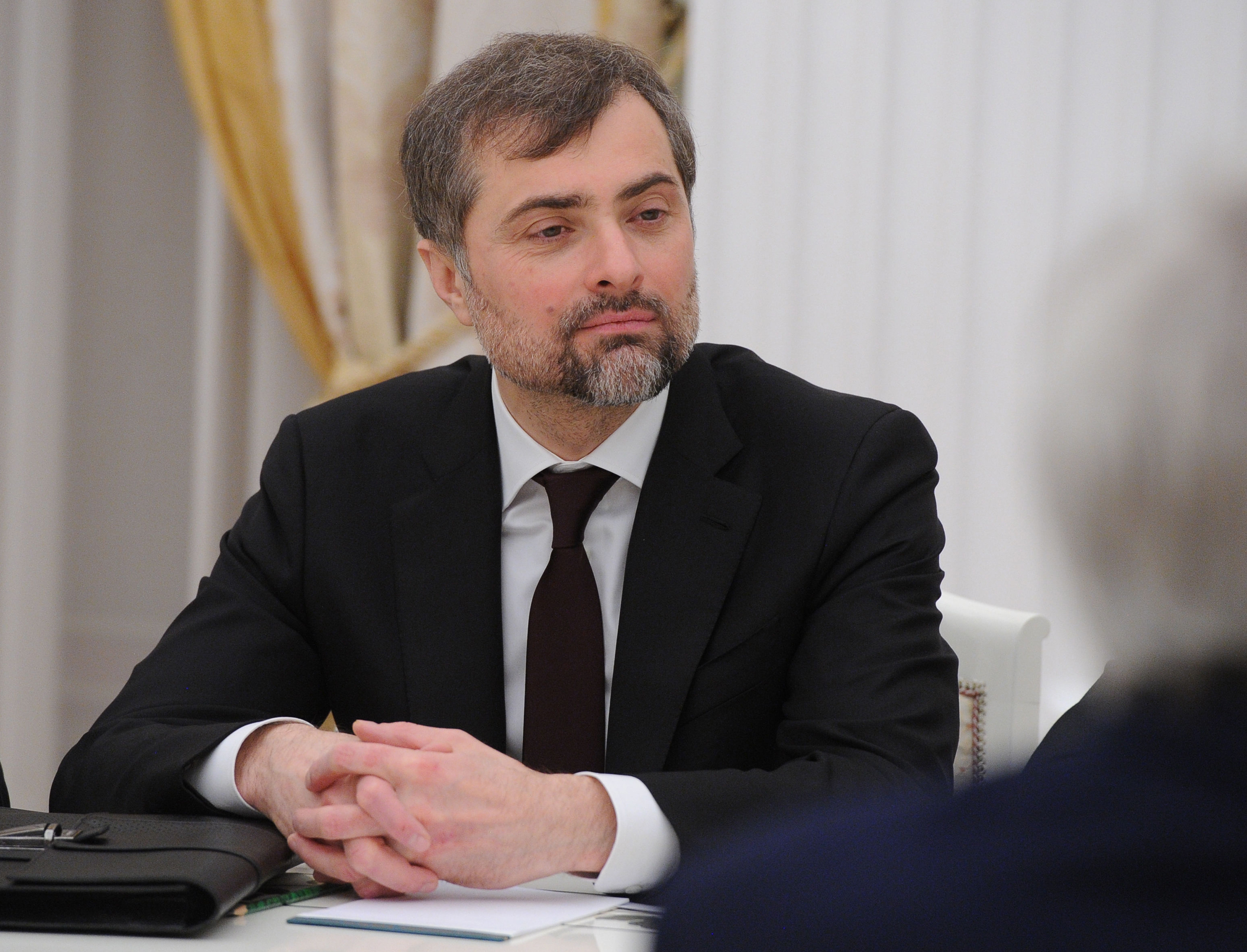 Russian President's Aide Vladislav Surkov attends a meeting between Russian President Vladimir Putin and U.S. Secretary of State John Kerry in Moscow on Mar. 24, 2016.