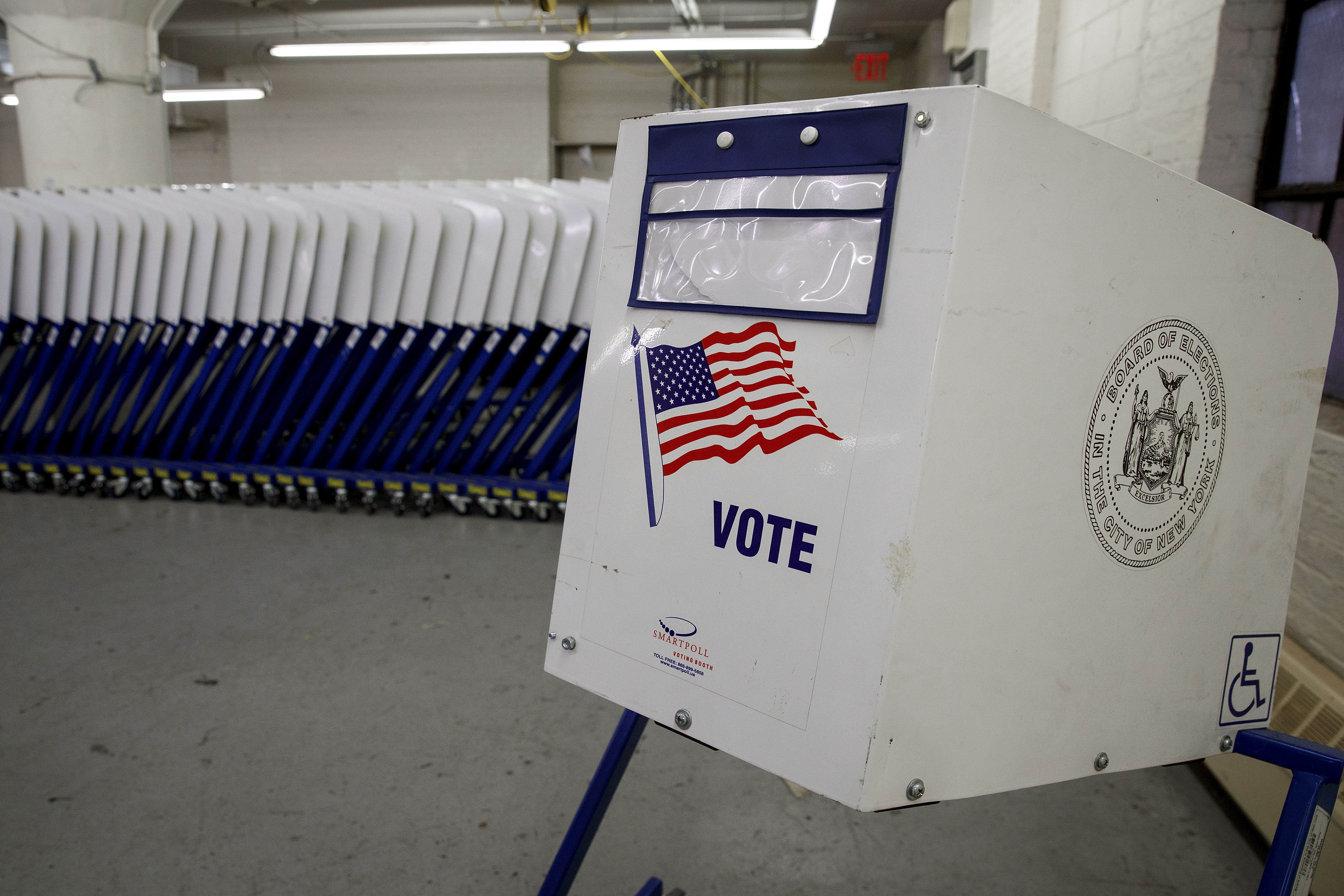 Voting booths sit at a New York City Board of Elections voting machine facility warehouse, November 3, 2016 in the Bronx borough in New York City.