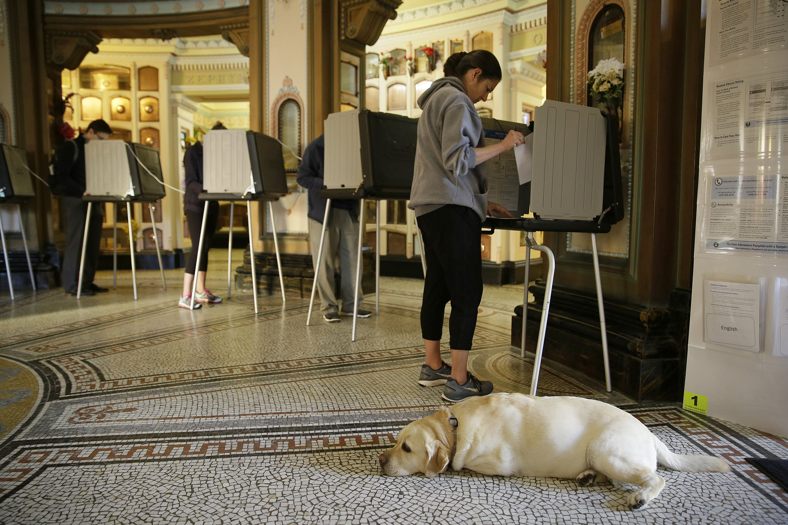 Libby Benedict, right, votes at the Neptune Society Columbarium as her dog, Stella, looks on, on Nov. 8, 2016, in San Francisco.
