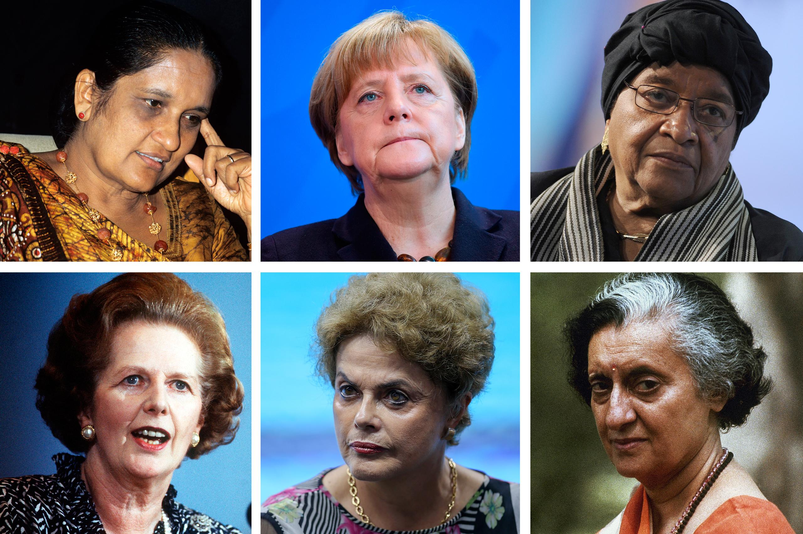From top-left, clockwise: Sirimavo Bandaranaike, Sri Lanka; Angela Merkel, Germany; Ellen Johnson-Sirleaf, Liberia; Indira Gandhi, India; Dilma Rousseff, Brazil; Margaret Thatcher, Britain.