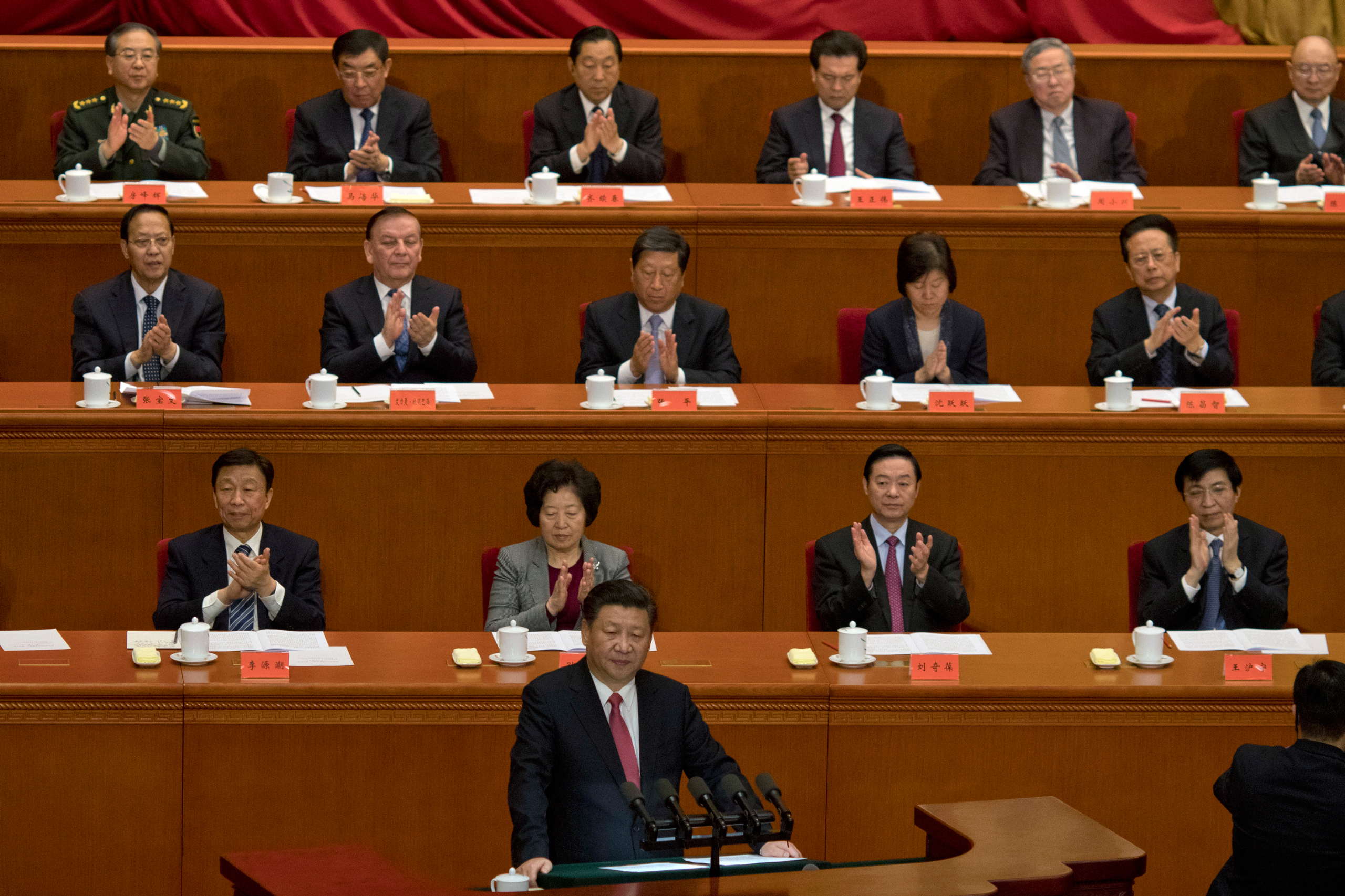 Chinese President Xi Jinping speaks at the commemorative meeting to mark the 150th anniversary of the birth of Sun Yat-sen, founding father of the Republic of China and founder of the Chinese National Party (KMT) at the Great Hall of the People in Beijing on Nov. 11, 2016.