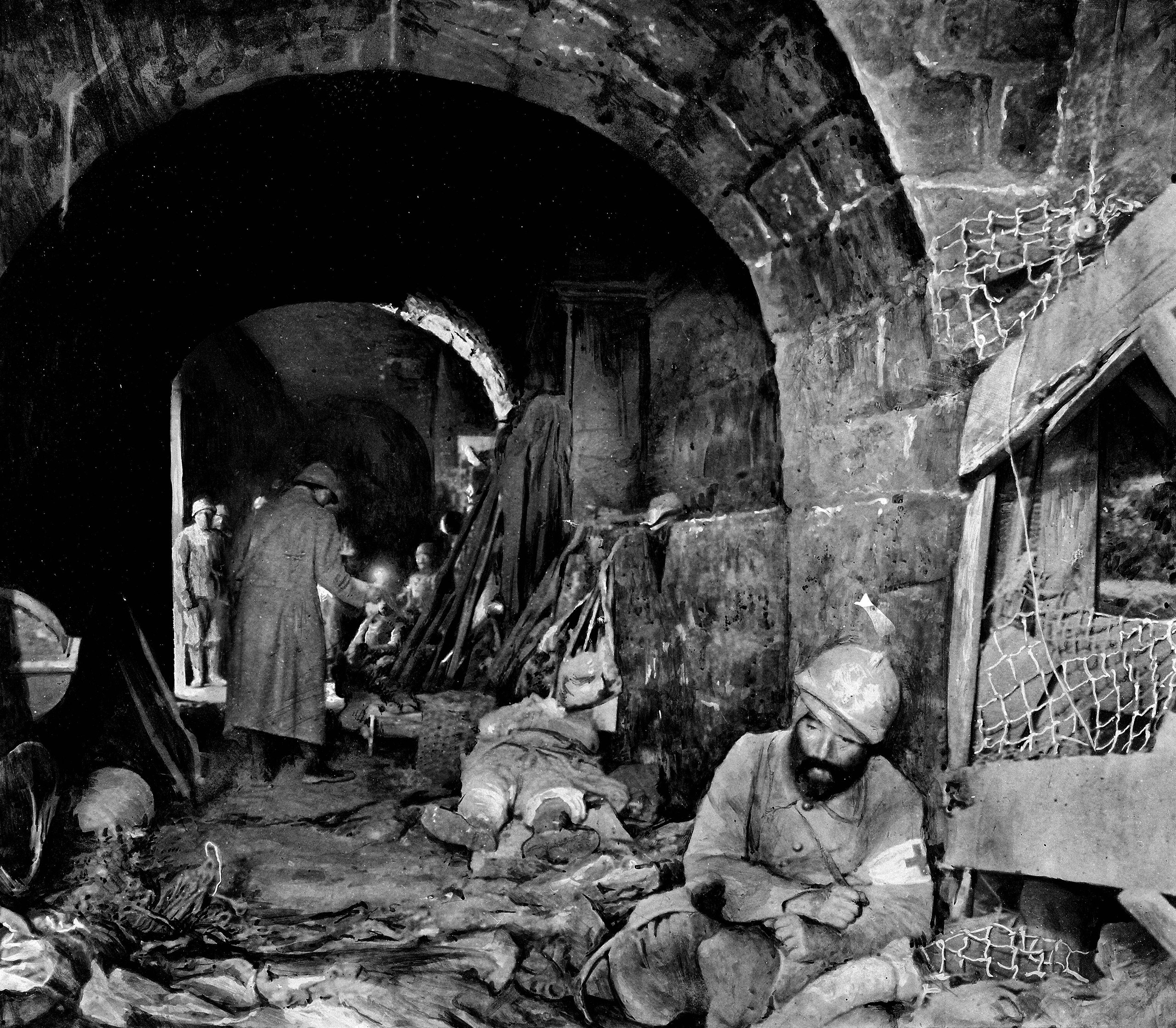 World War One, Battle of Verdun (Meuse). After the recapture of Fort Vaux. Central corridor. In the foreground, on the right-hand corner: wounded nurse, 1916.