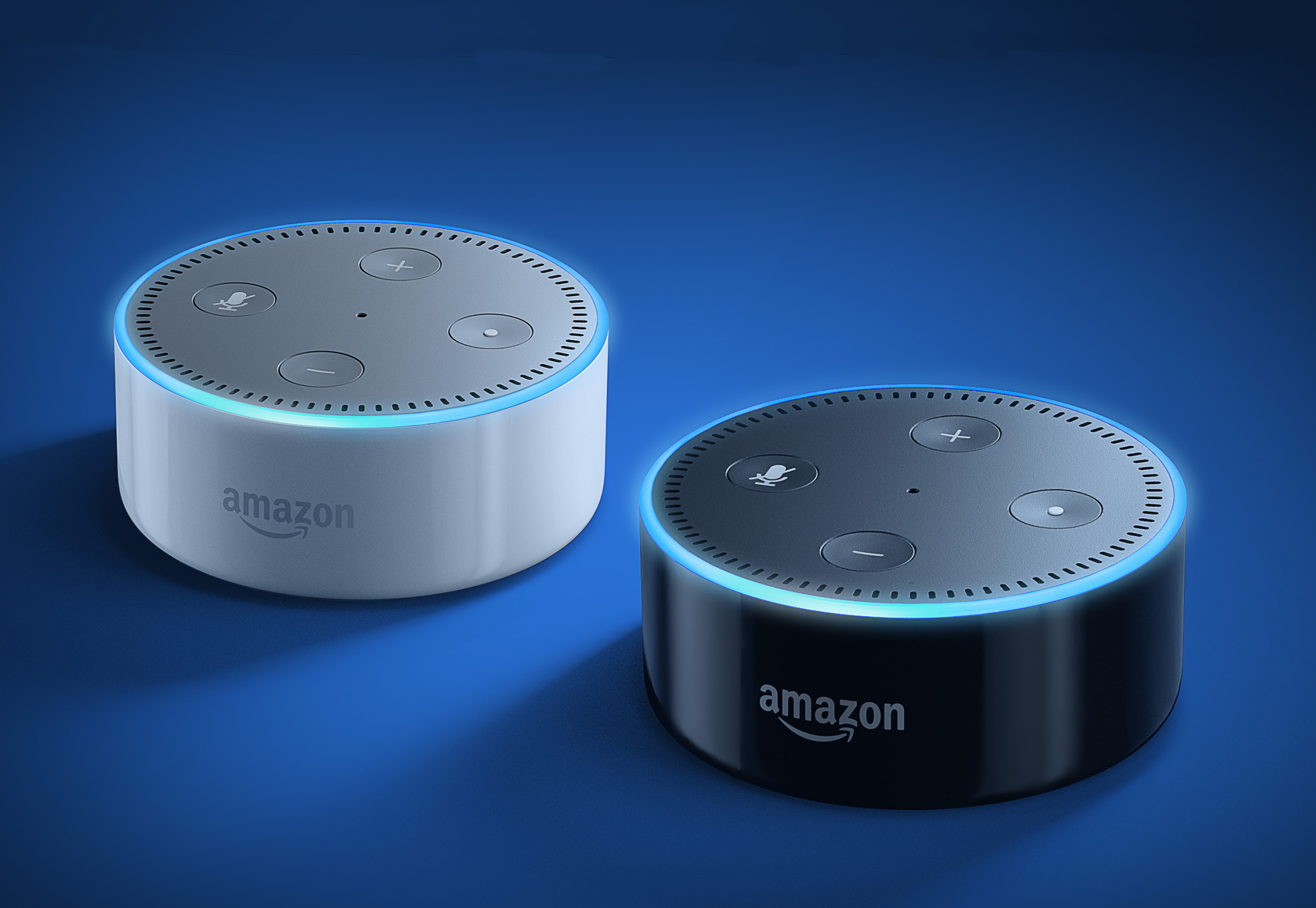 Amazon Echo Dot, in white and black
