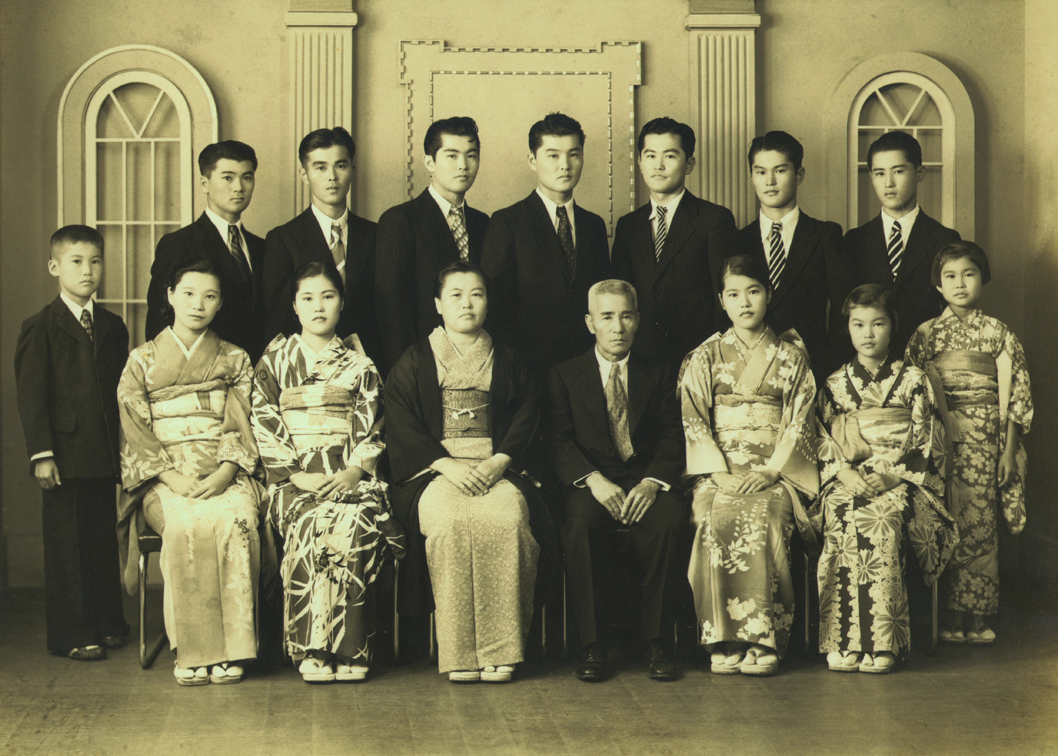 The Oka family in 1938; Walter was the youngest sibling.