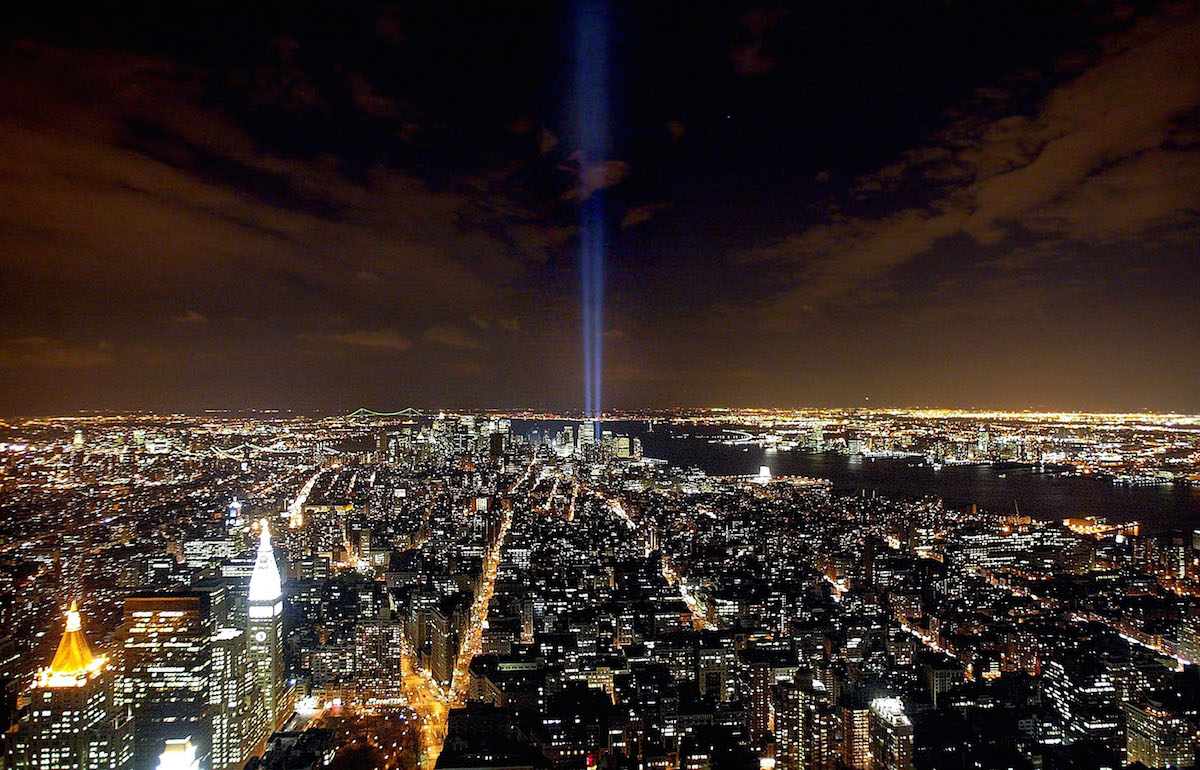 The  Tribute in Light  memorial to the World Trade Center is seen from the Empire State Building April 3, 2002 in New York City.