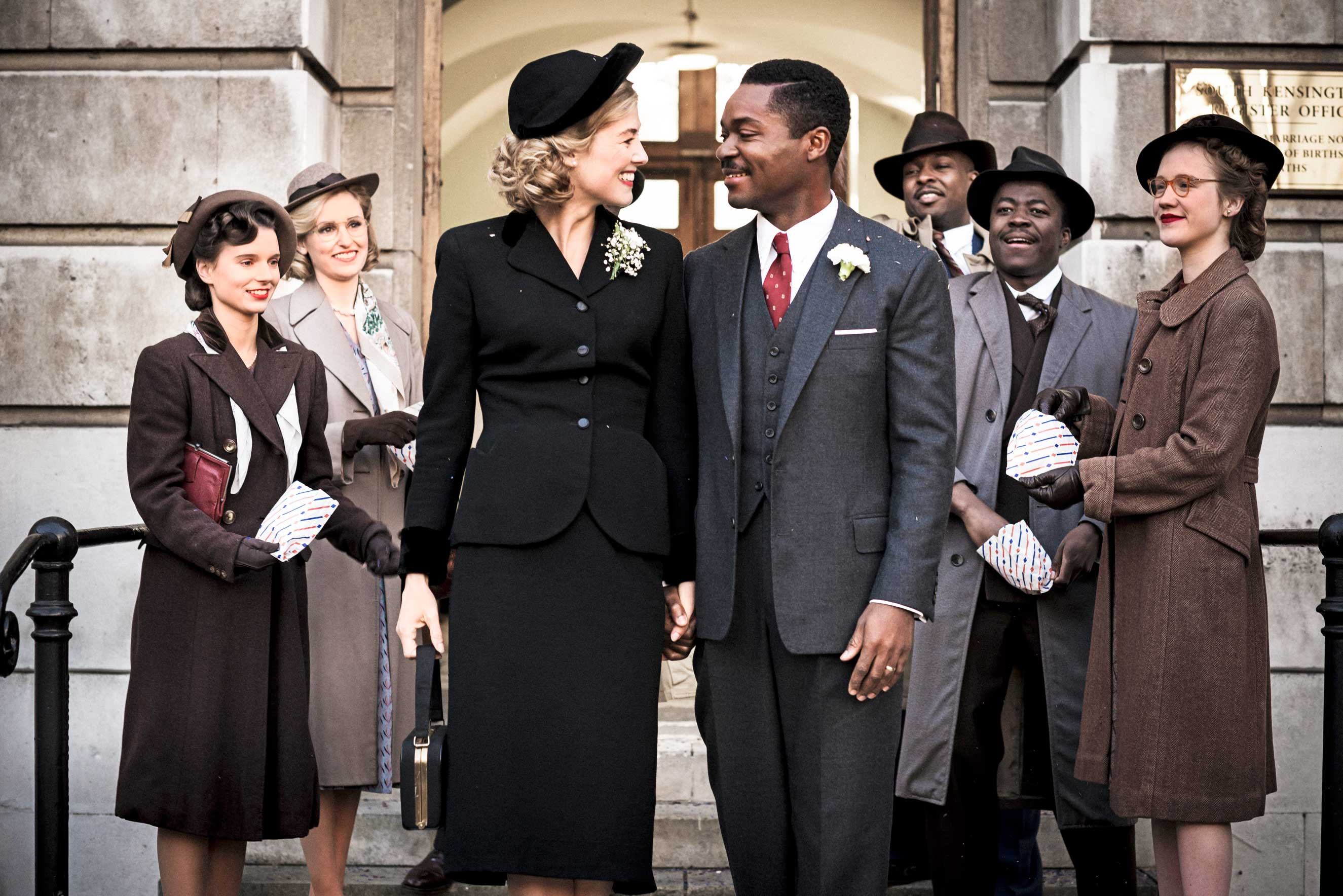 Pike and Oyelowo in AUnited Kingdom, the true story of an interracial marriage