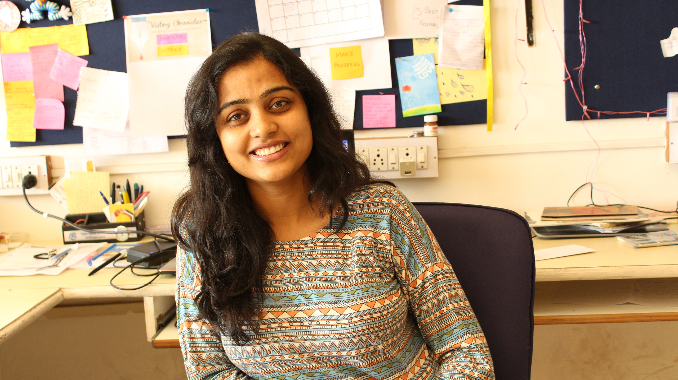 Aditi Gupta, founder of Menstrupedia, poses for a portrait.  The organization's offices are based in Gujarat, India
