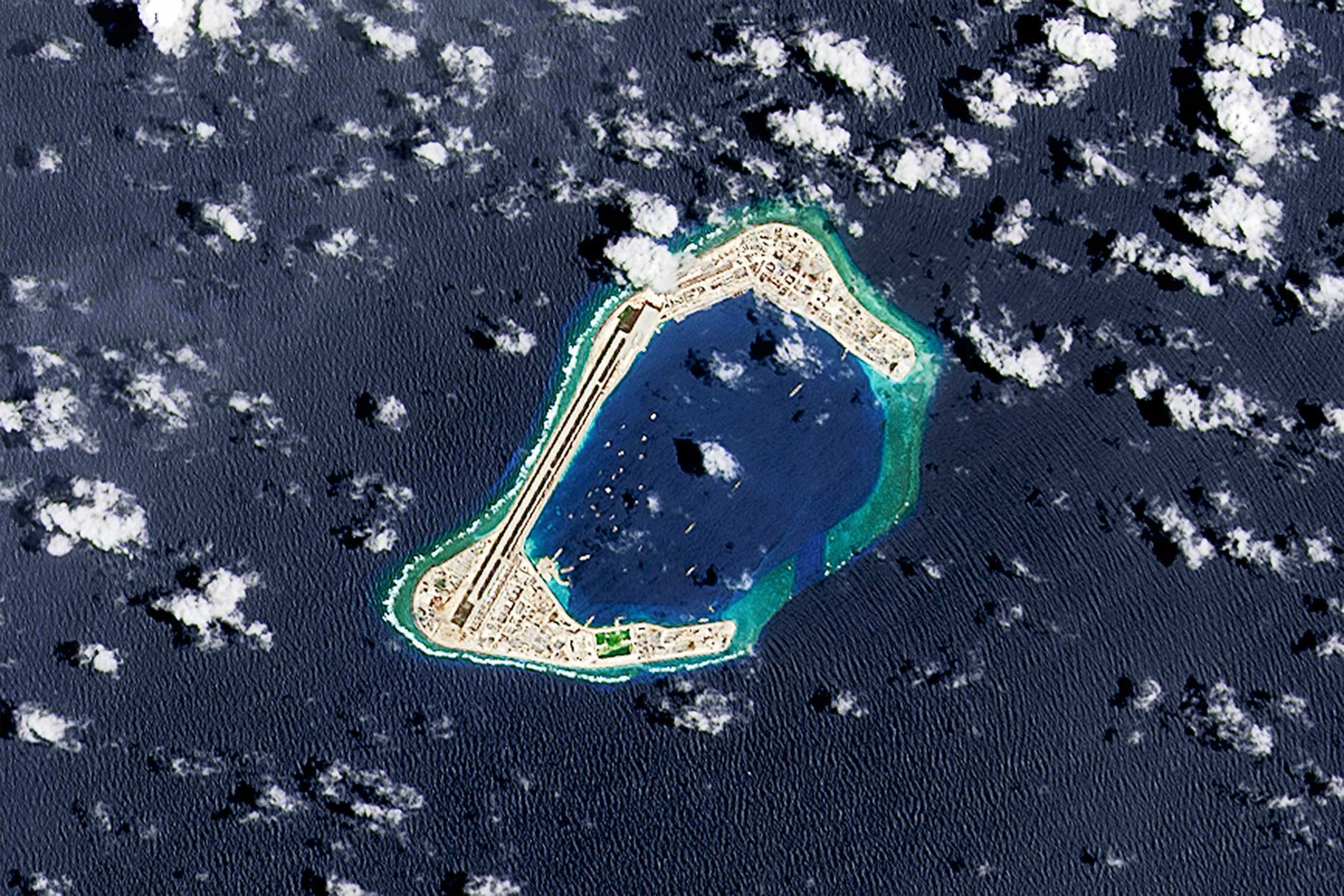A satellite image of Subi Reef, where an artificial island is being developed by Beijing in the South China Sea.