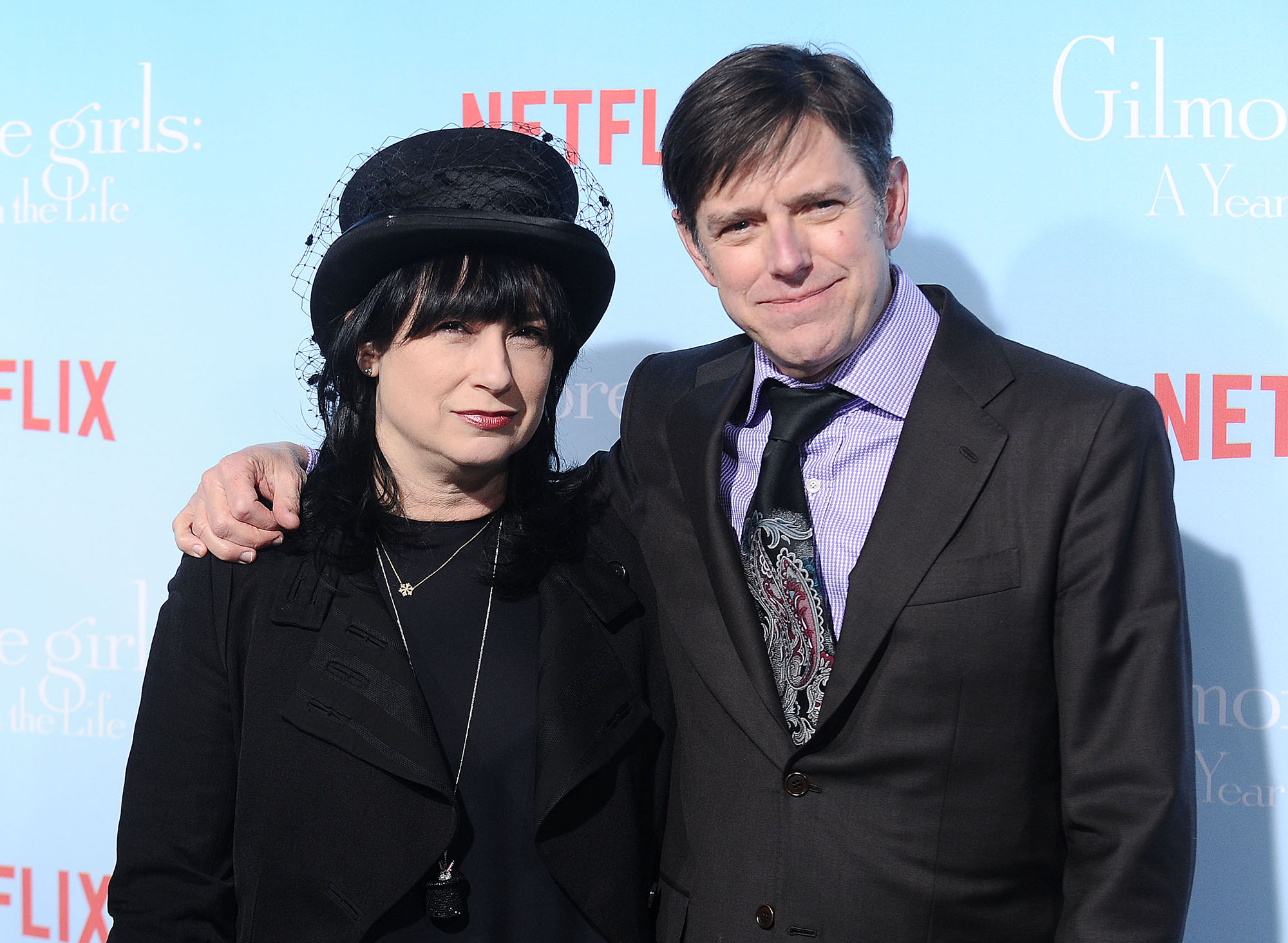 Amy Sherman-Palladino and Daniel Palladino attend the premiere of  Gilmore Girls: A Year in the Life  in Los Angeles, California. (Photo by Jason LaVeris/FilmMagic)