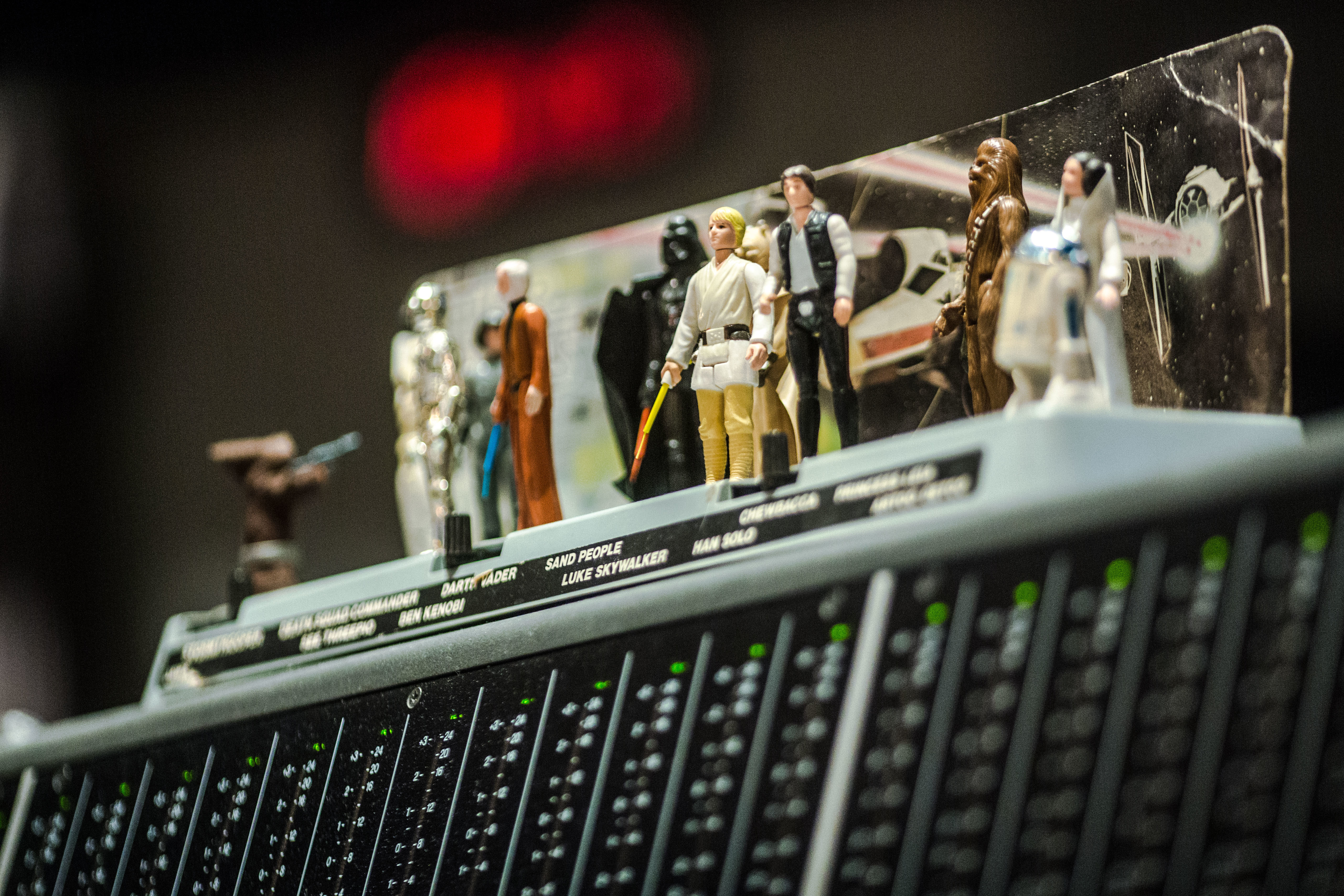 Giacchino's Star Wars action figures on the mixing console at the Rogue One scoring stage. He started collecting as a kid. Photo by Jaimie Trueblood/Lucasfilm