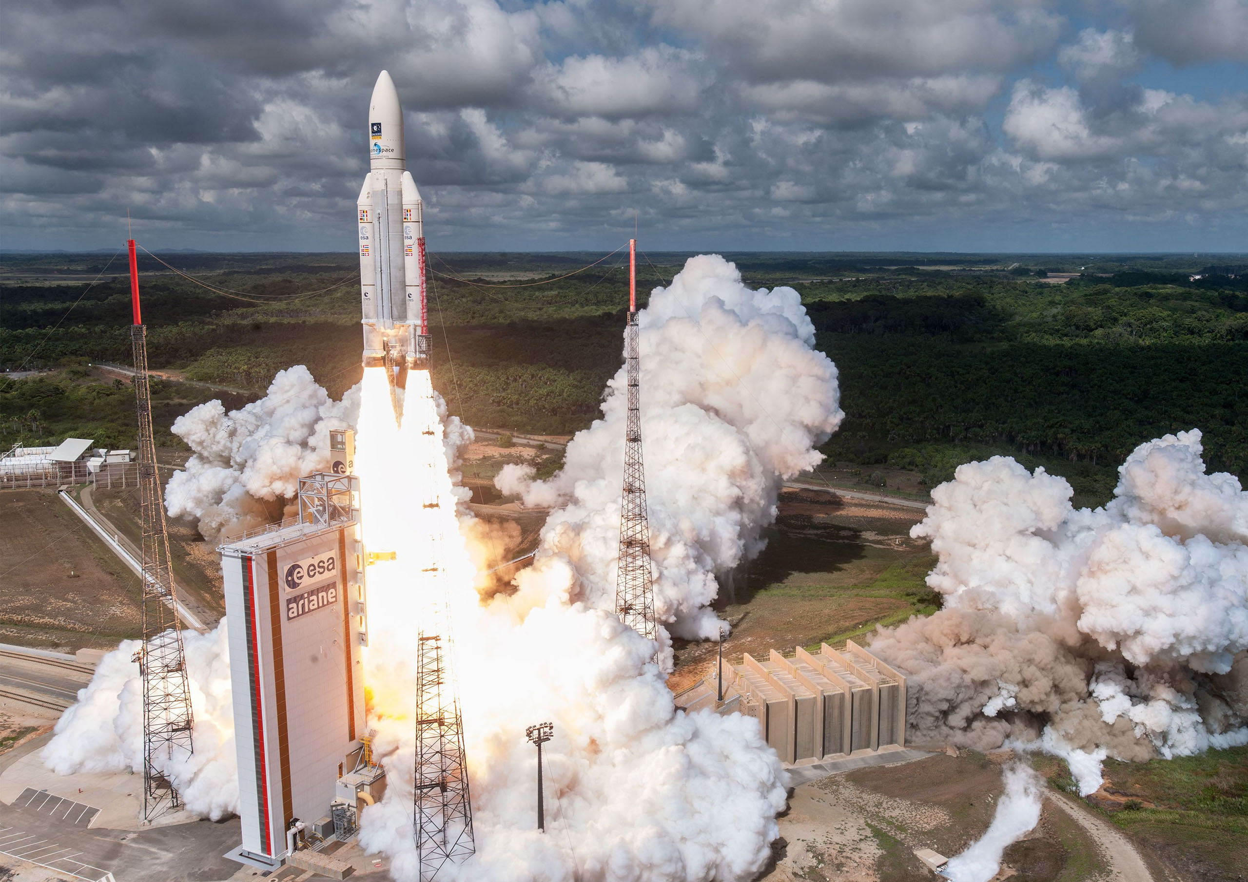 This photo released on Nov. 17, 2016 shows shows the Ariane 5 rocket with a payload of four Galileo satellites lifting off from ESA's European Spaceport in Kourou, French Guiana.