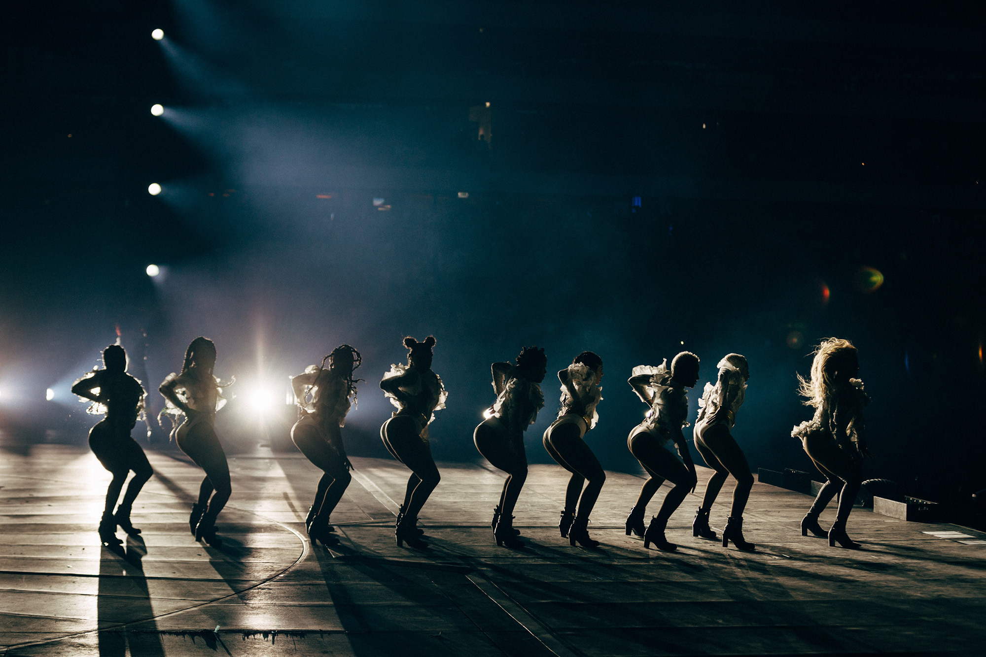 Dancers onstage at Beyoncé's Formation World Tour in Frankfurt, Germany, on July 30, 2016.