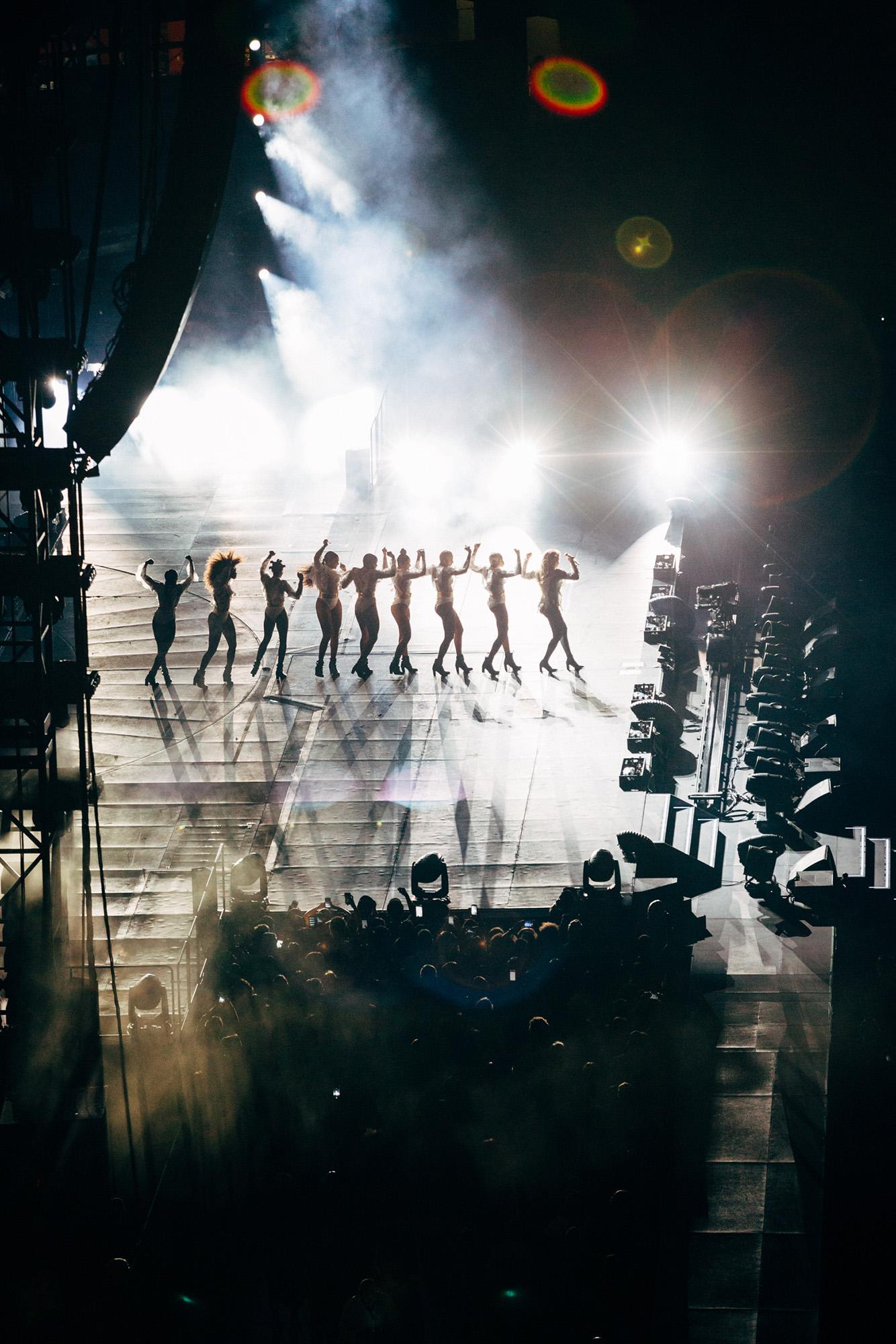 Dancers onstage at Beyoncé's Formation World Tour 2016.
