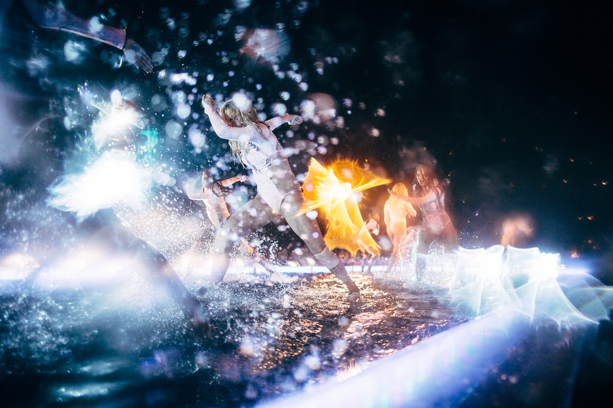 Dancers splash water onstage at Beyoncé's  Formation World Tour, 2016.