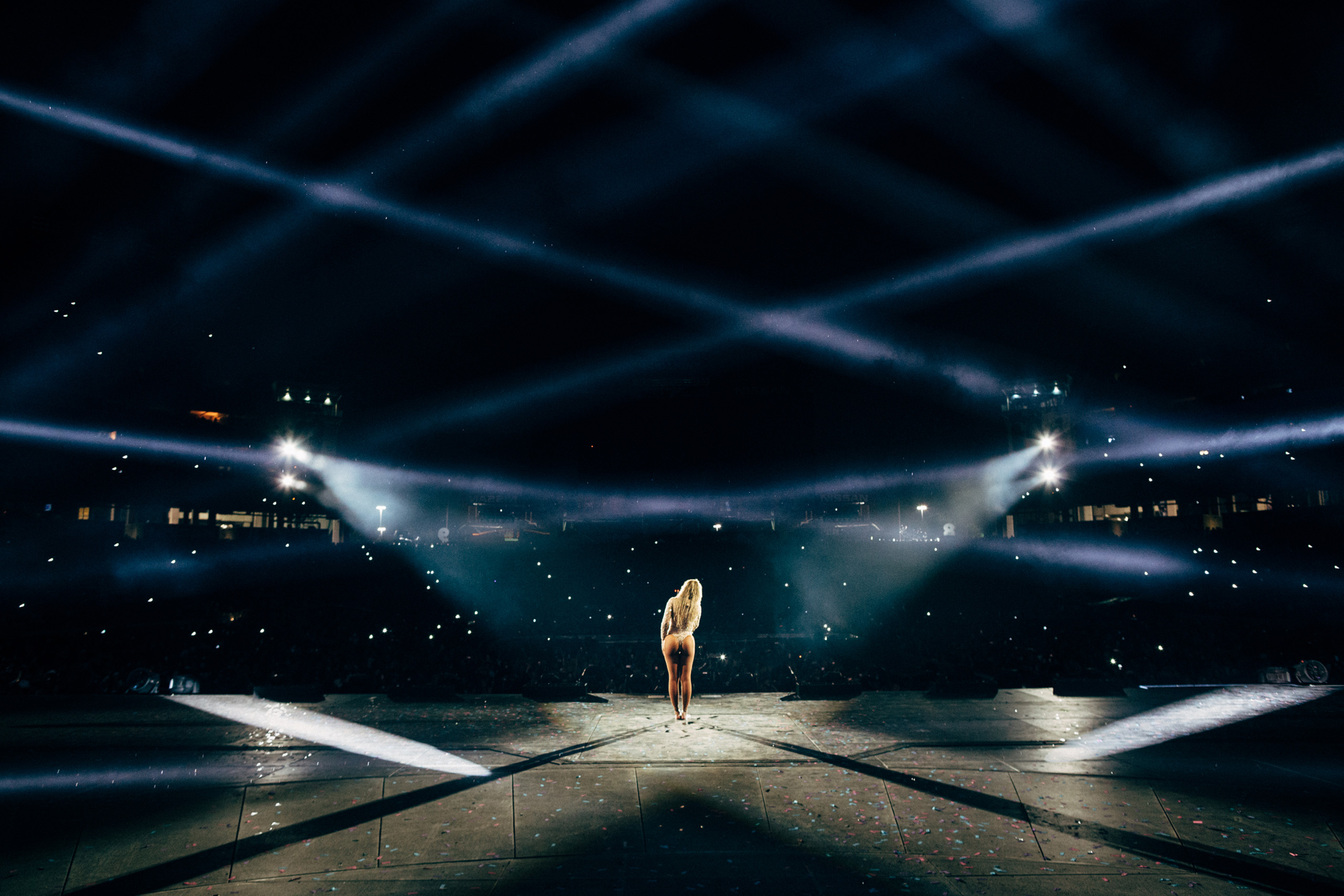 Beyoncé sings to the crowd onstage during the  Formation World Tour in Nashville on Oct. 3, 2016.