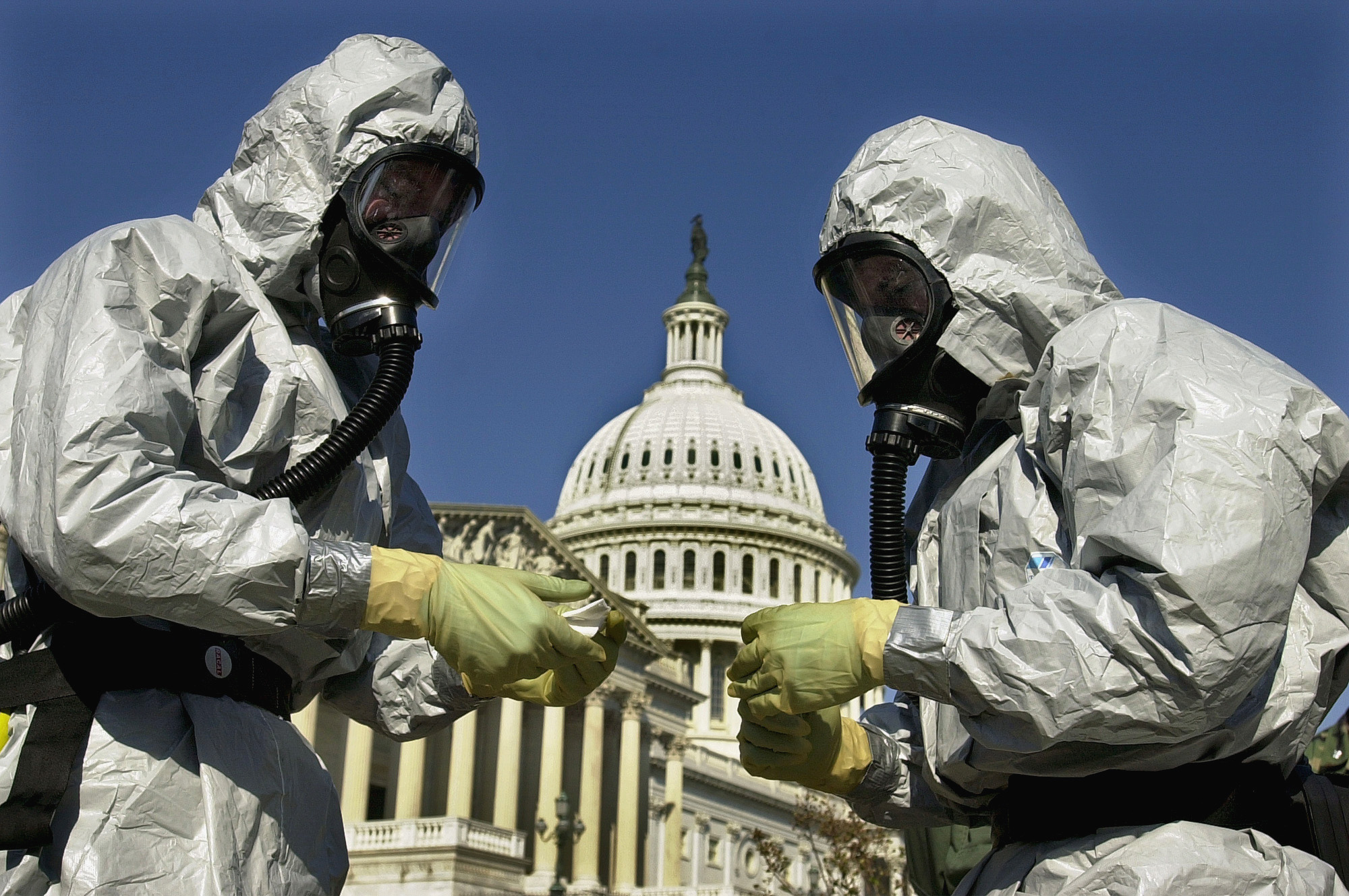Members of a U.S. Marine Corps' Chemical-Biological Incident Response Force demonstrate anthrax clean-up techniques in Washington.