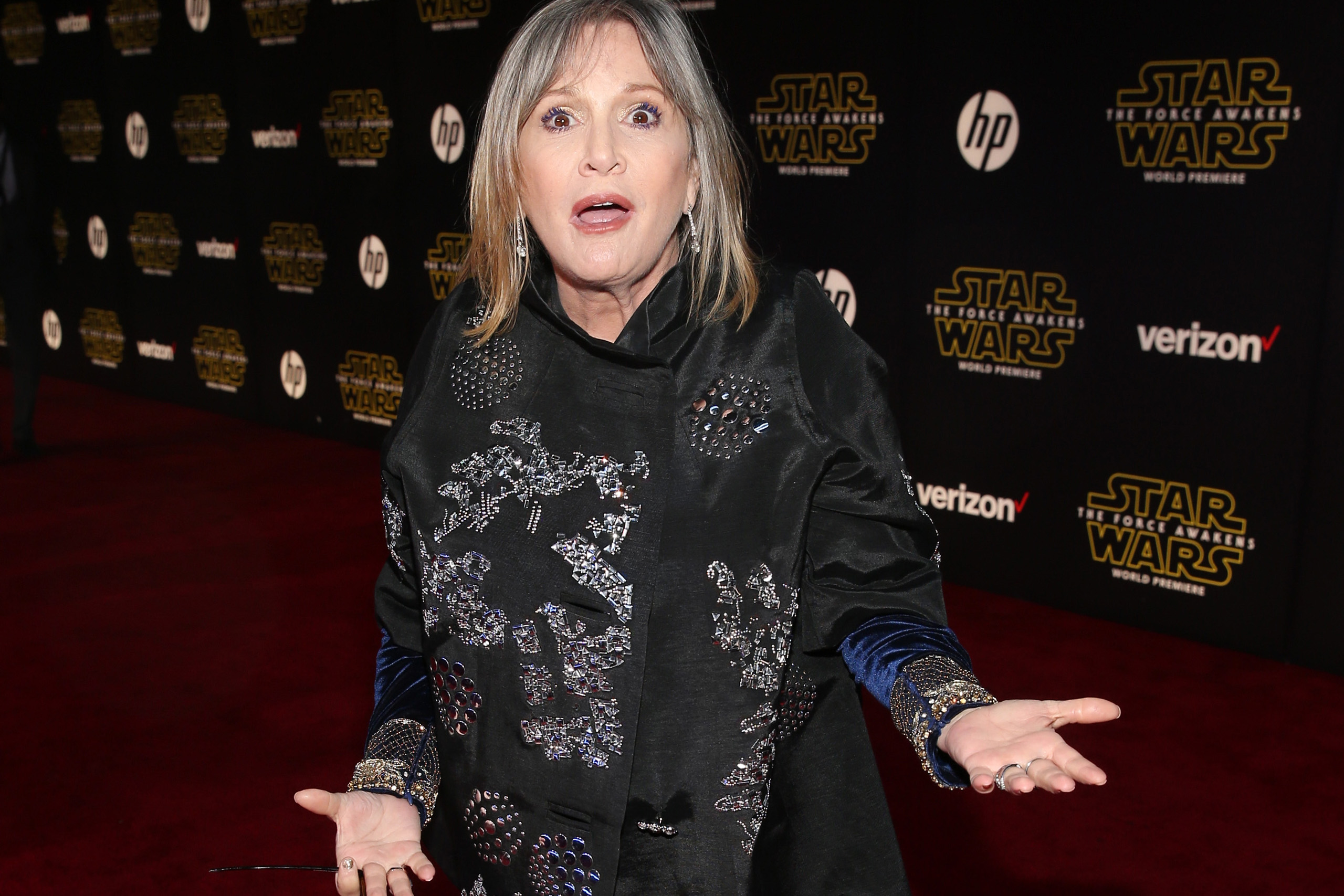 "Carrie Fisher attends the World Premiere of ""Star Wars: The Force Awakens"" at the Dolby, El Capitan, and TCL Theaters in Hollywood, California, on December 14, 2015."
