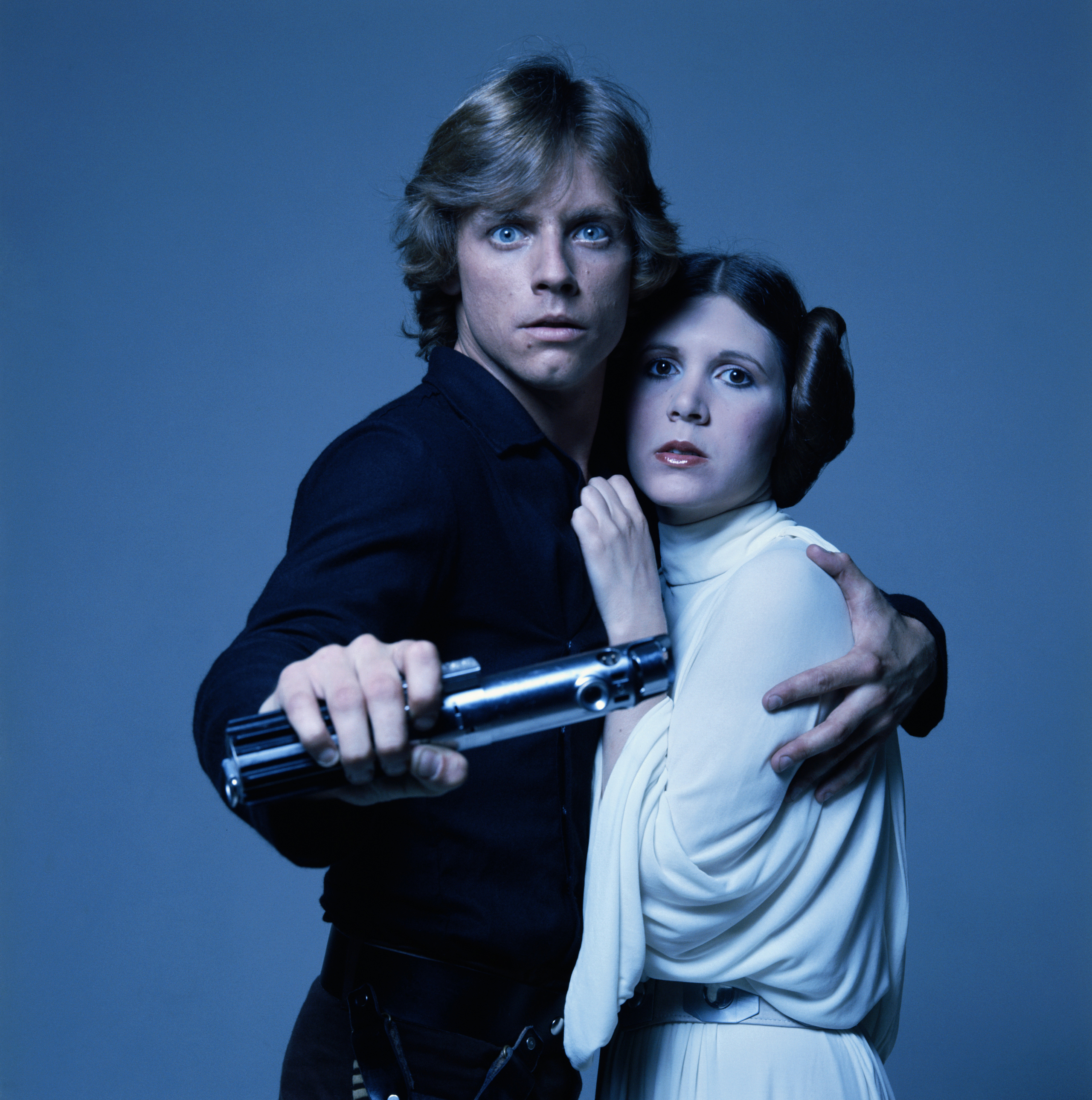 Mark Hamill and Carrie Fisher in costume Luke Skywalker and Princess Leia in George Lucas' Star Wars trilogy, 1977.