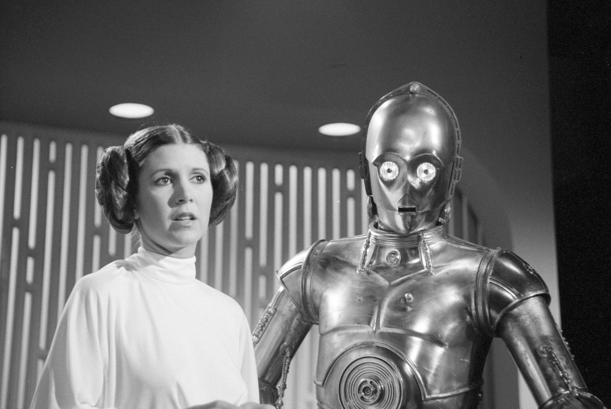 Carrie Fisher as Princes Leia and Anthony Daniels as C3PO  on Aug. 23, 1978.